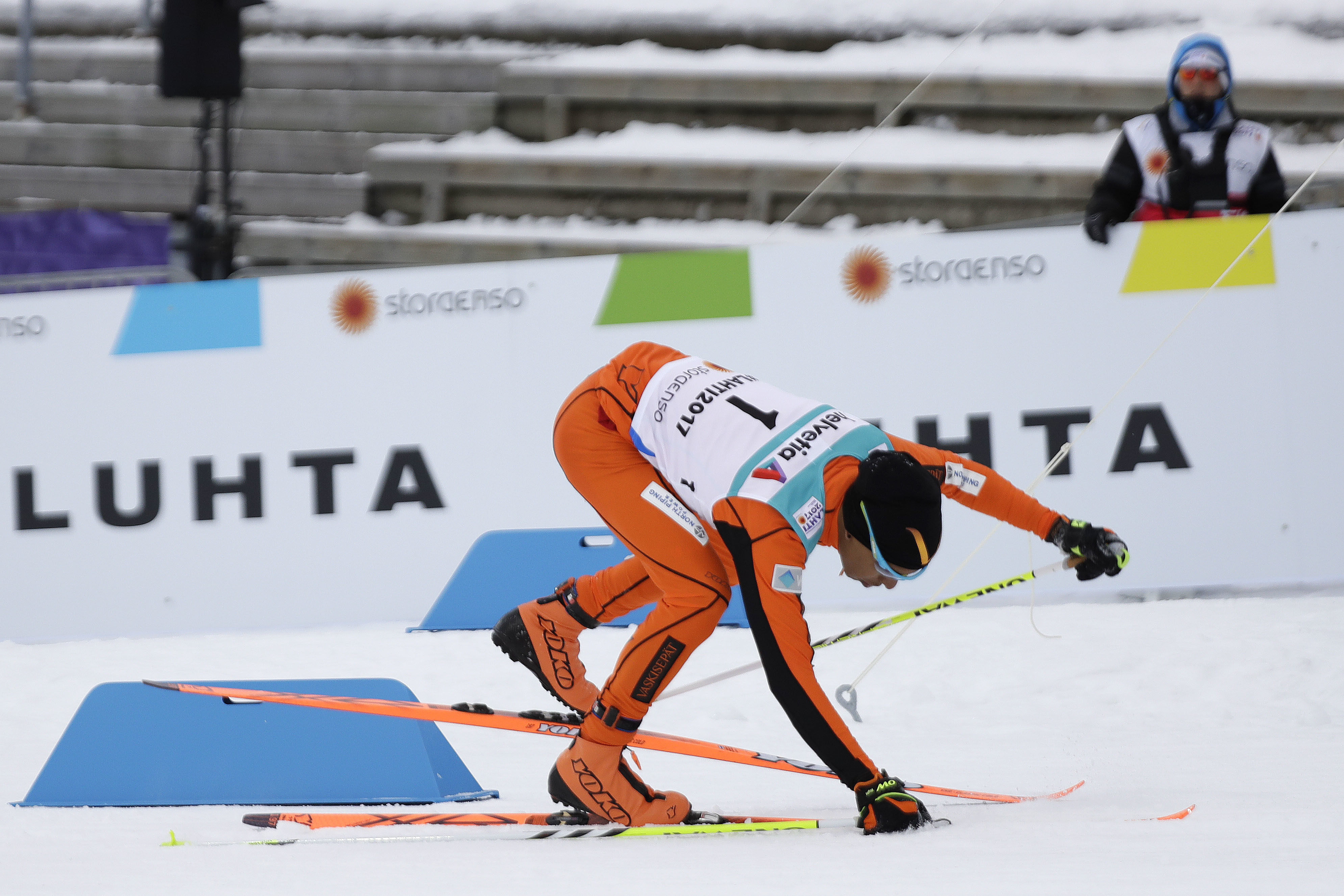 Adrian Solano of Venezuela falls during the men's 10 km cross-country individual classic qualification race at the 2017 Nordic Skiing World Championships in Lahti, Finland, Wednesday, Feb. 22, 2017. (AP Photo/Matthias Schrader)