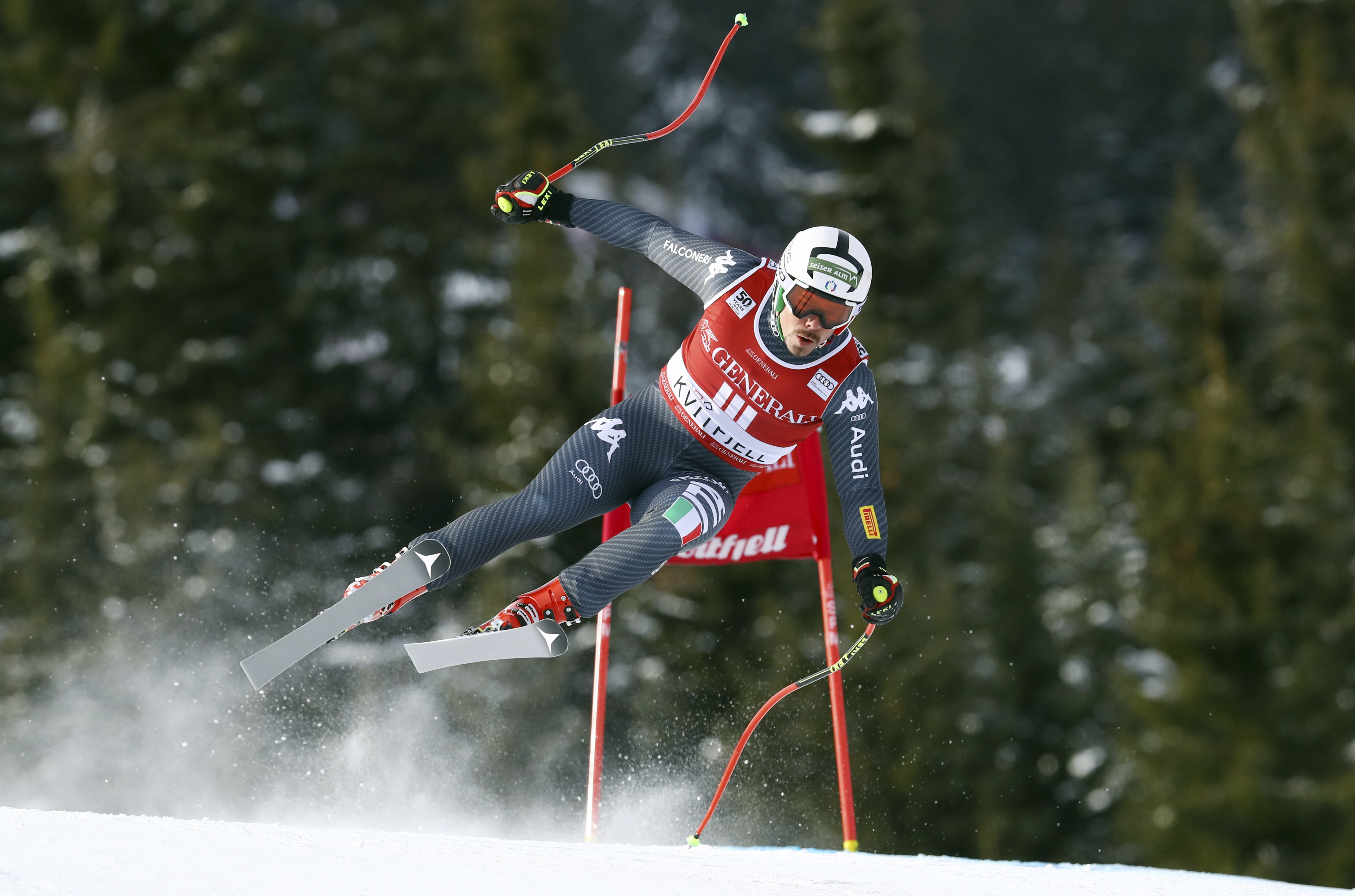 Italy's Peter Fill competes in an alpine ski, men's World Cup Super G, in Kvitfjell, Norway, Sunday, Feb. 26, 2017. (AP Photo/Alessandro Trovati)