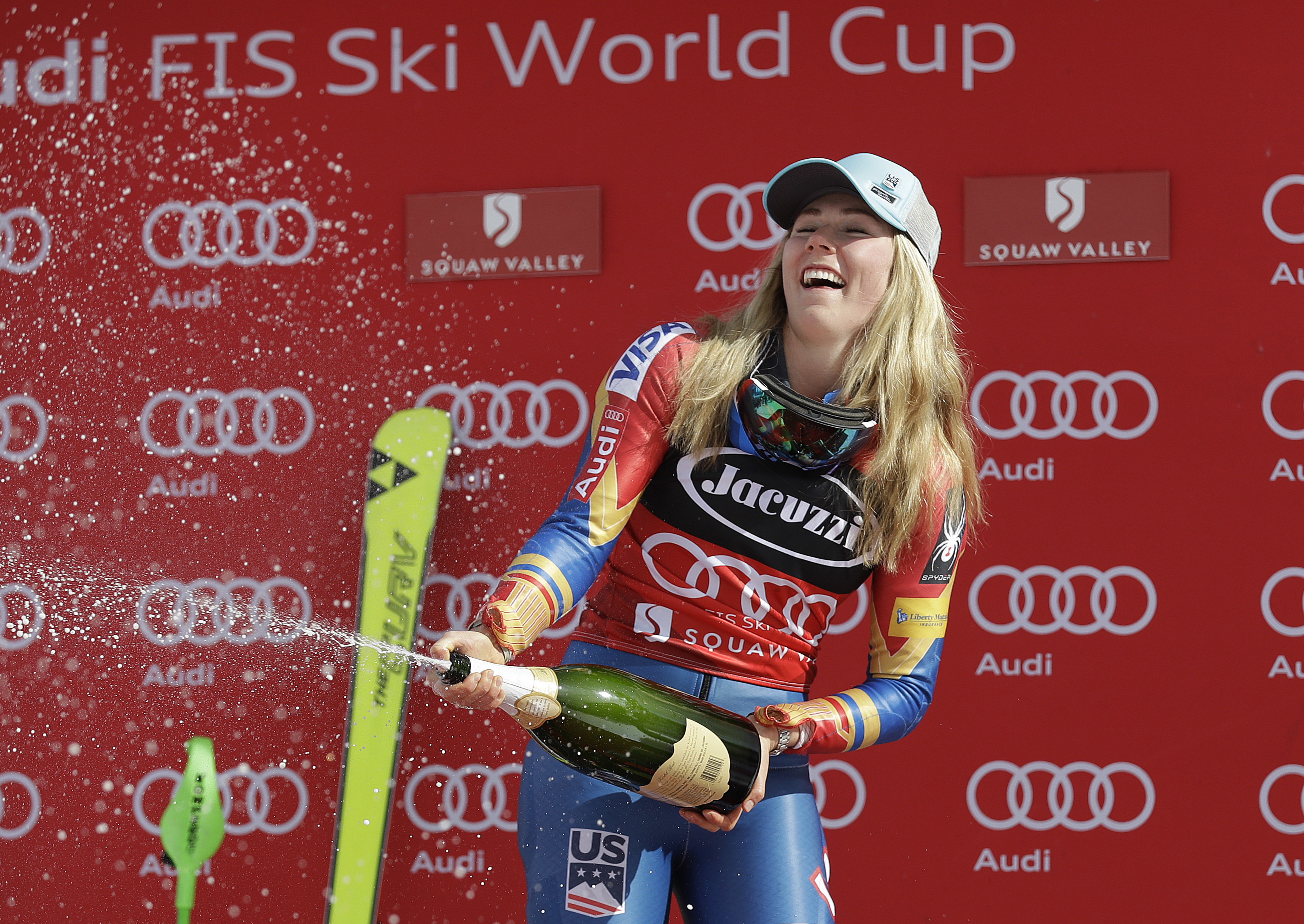 Mikaela Shiffrin celebrates after winning the women's World Cup slalom competition Saturday, March 11, 2017, in Olympic Valley, Calif. (AP Photo/Marcio Jose Sanchez)