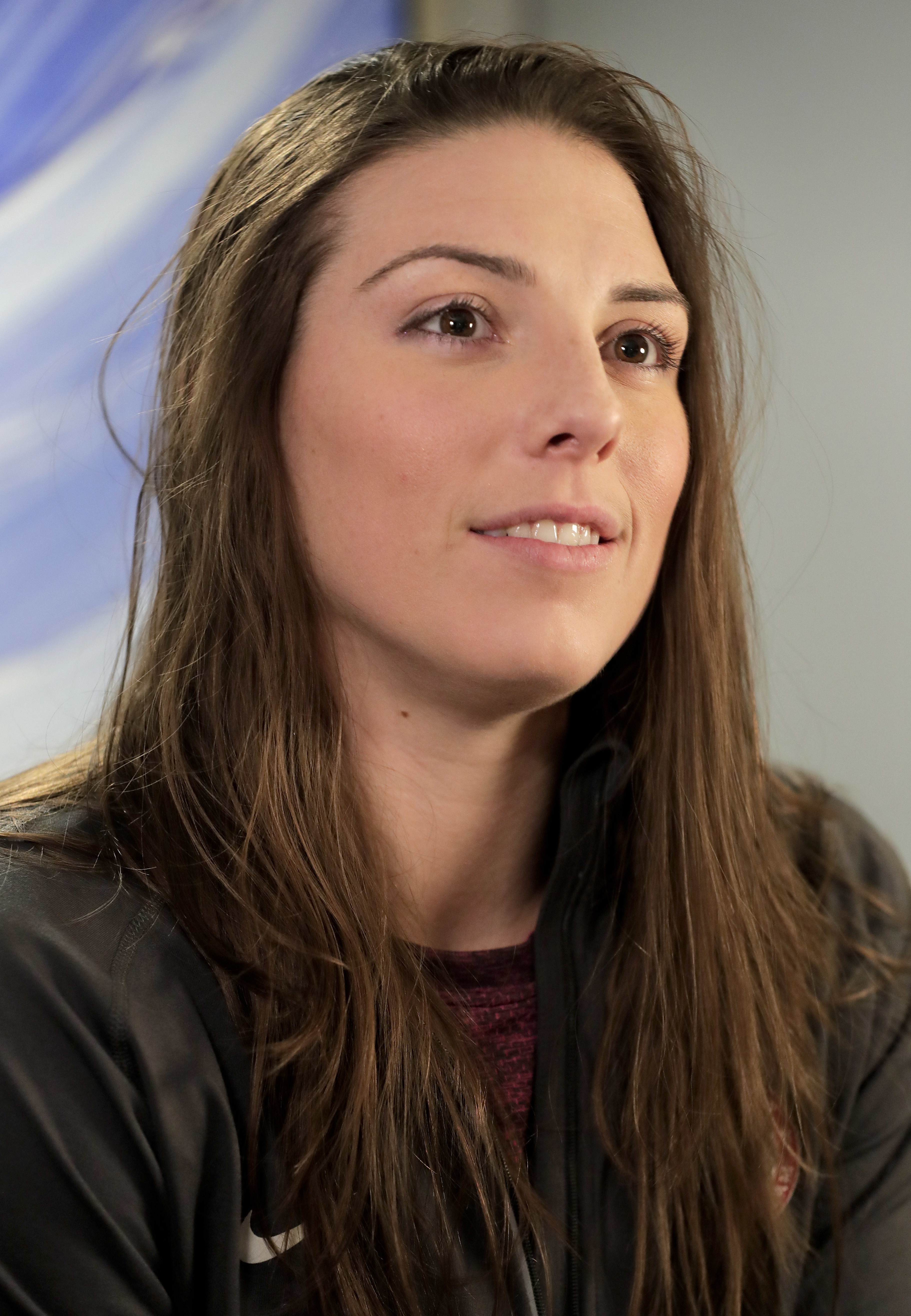 FILE - In this Feb. 7, 2017, file photo, WNHL player Hilary Knight answers questions during an interview in New York. The U.S. women's hockey team is threatening to boycott the world championships because of a wage dispute. The team announced Wednesday th