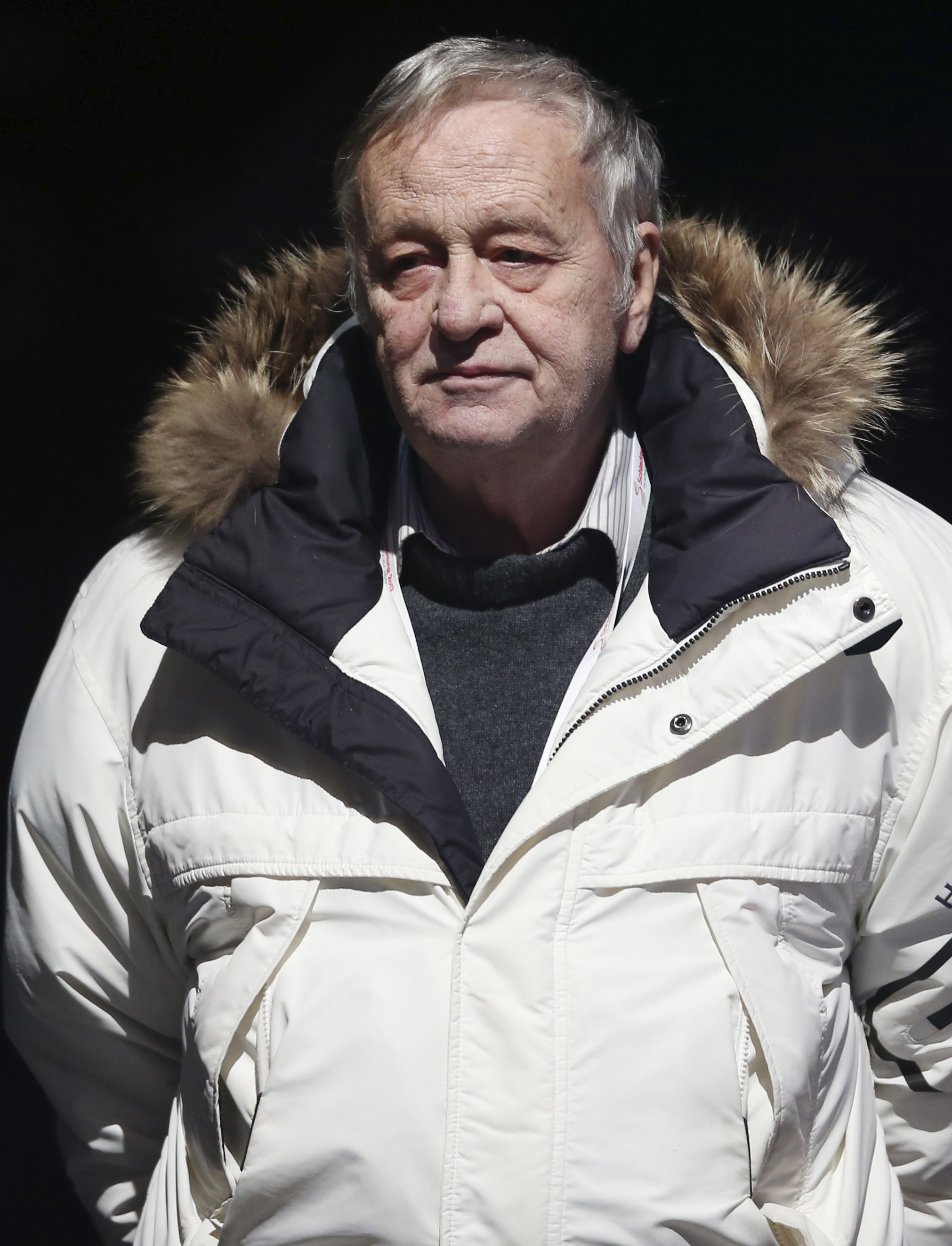 FILE - The Feb. 6, 2013 file photo shows the President of the International Ski Federation Gian Franco Kasper watching a medal ceremony after the men's super-G, at the Alpine skiing world championships in Schladming, Austria. IOC board member Kasper apolo