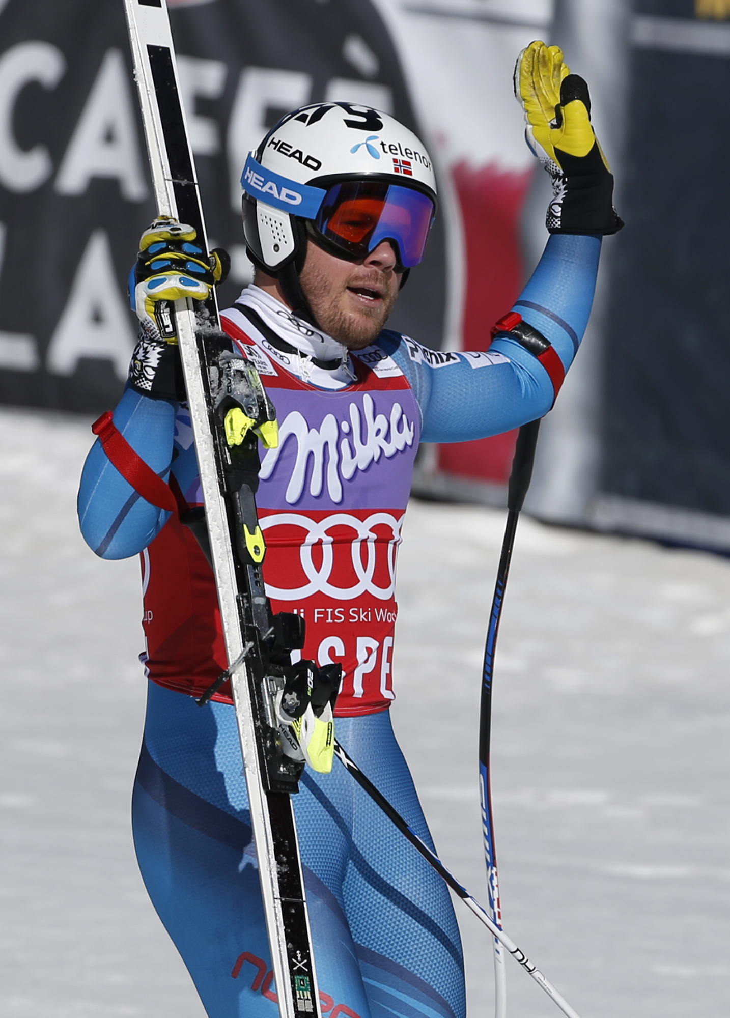 Norway's Kjetil Jansrud waves after a run at the men's World Cup super-G ski race Thursday, March 16, 2017, in Aspen, Colo. (AP Photo/Brennan Linsley)