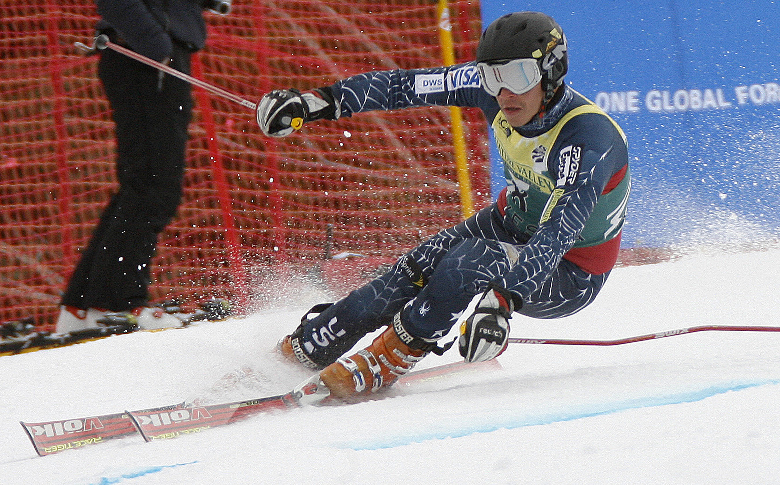 FILE - In this April 3, 2007, file photo, Cody Marshall competes in the men's giant slalom ski race of the U.S. Alpine Championships at Alyeska Resort in Girdwood, Alaska. Marshall, who suffered a traumatic brain injury after falling off an escalator in J