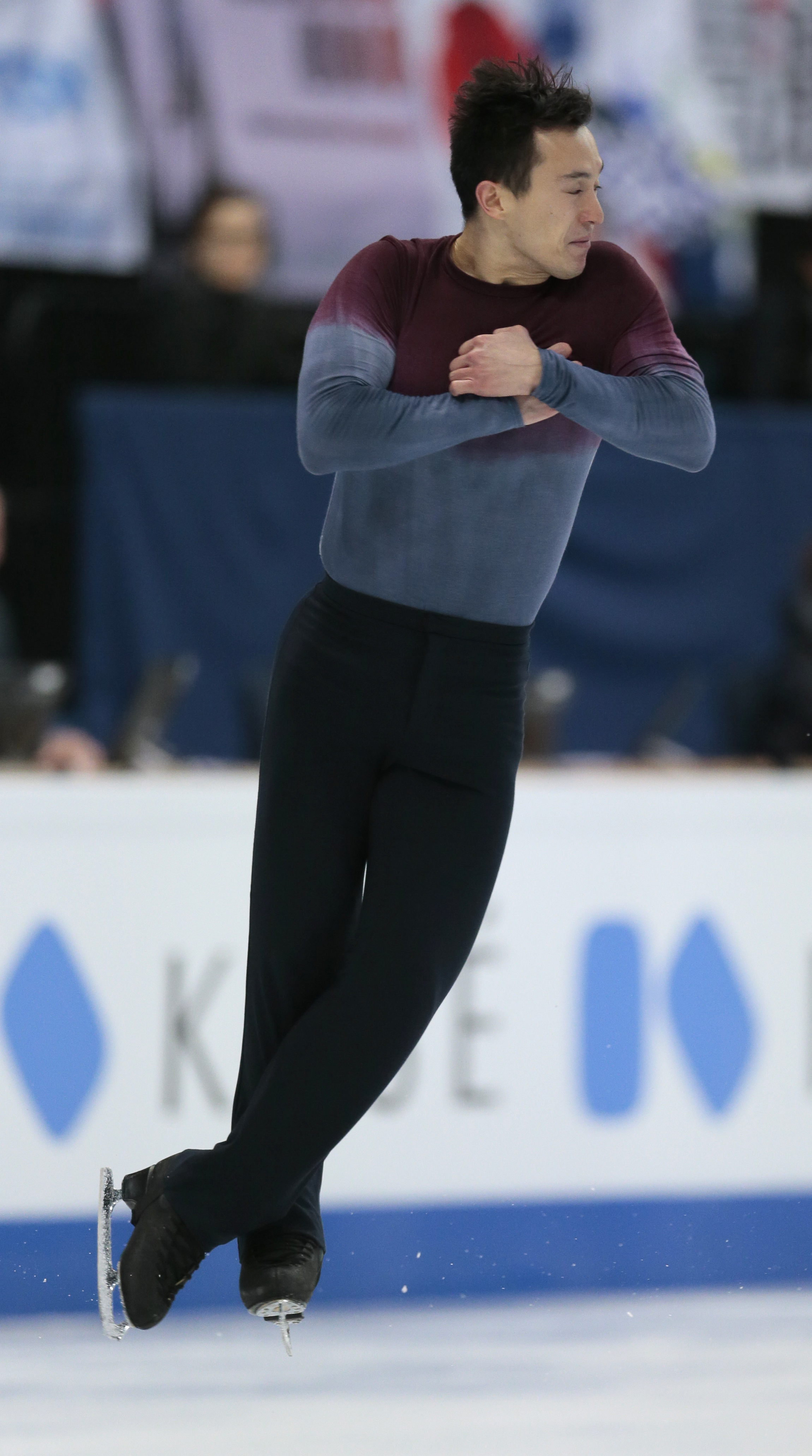Patrick Chan, of Canada, skates his free program at the World figure skating championships in Helsinki, Finland, on Saturday, April 1, 2017. (AP Photo/Ivan Sekretarev)