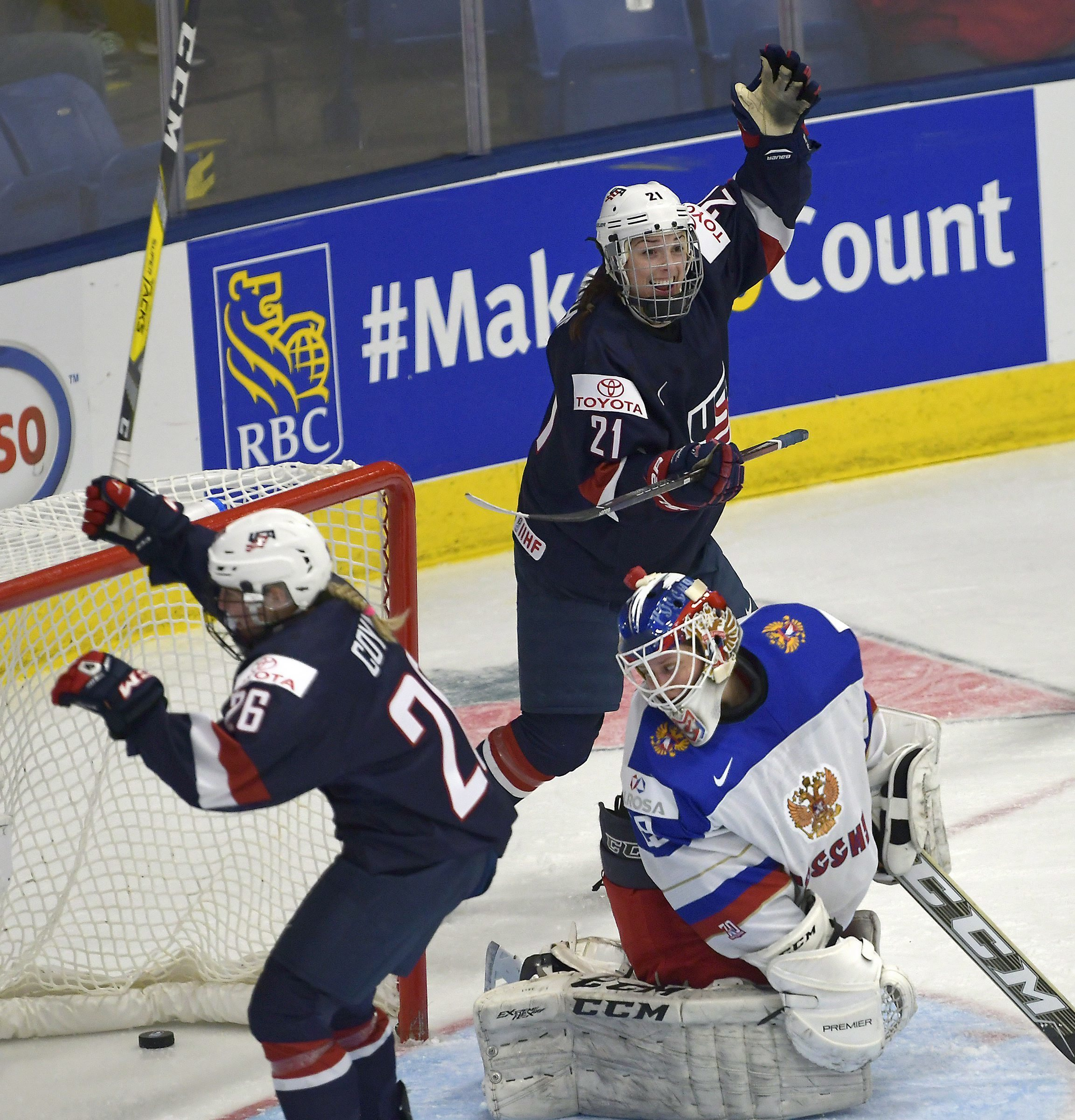 The United State's Kendall Coyne (26) and Hilary Knight (21) celebrate a third period goal against Russia goaltender Maria Sorokina at  Ice Hockey Women's World Championship in Plymouth, Mich., on Saturday, April 1, 2017. (Jason Kryk/The Canadian Press vi