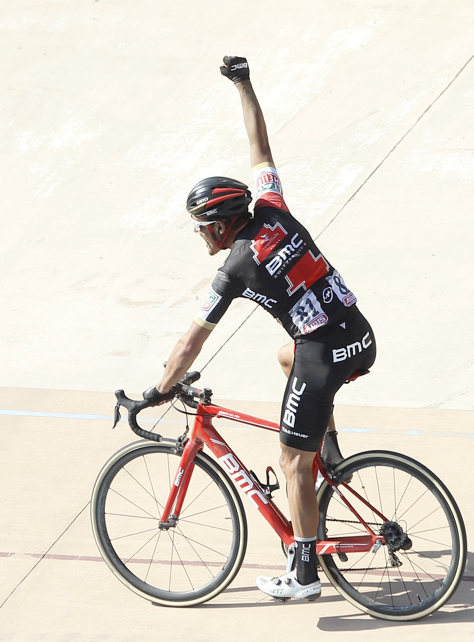 Greg Van Avermaet of Belgium celebrates on winning the 115th edition of the Paris-Roubaix cycling classic, a 257,5 kilometer (160 mile) one day race, with about 20 per cent of the distance run on cobblestones, at the velodrome in Roubaix, northern France,