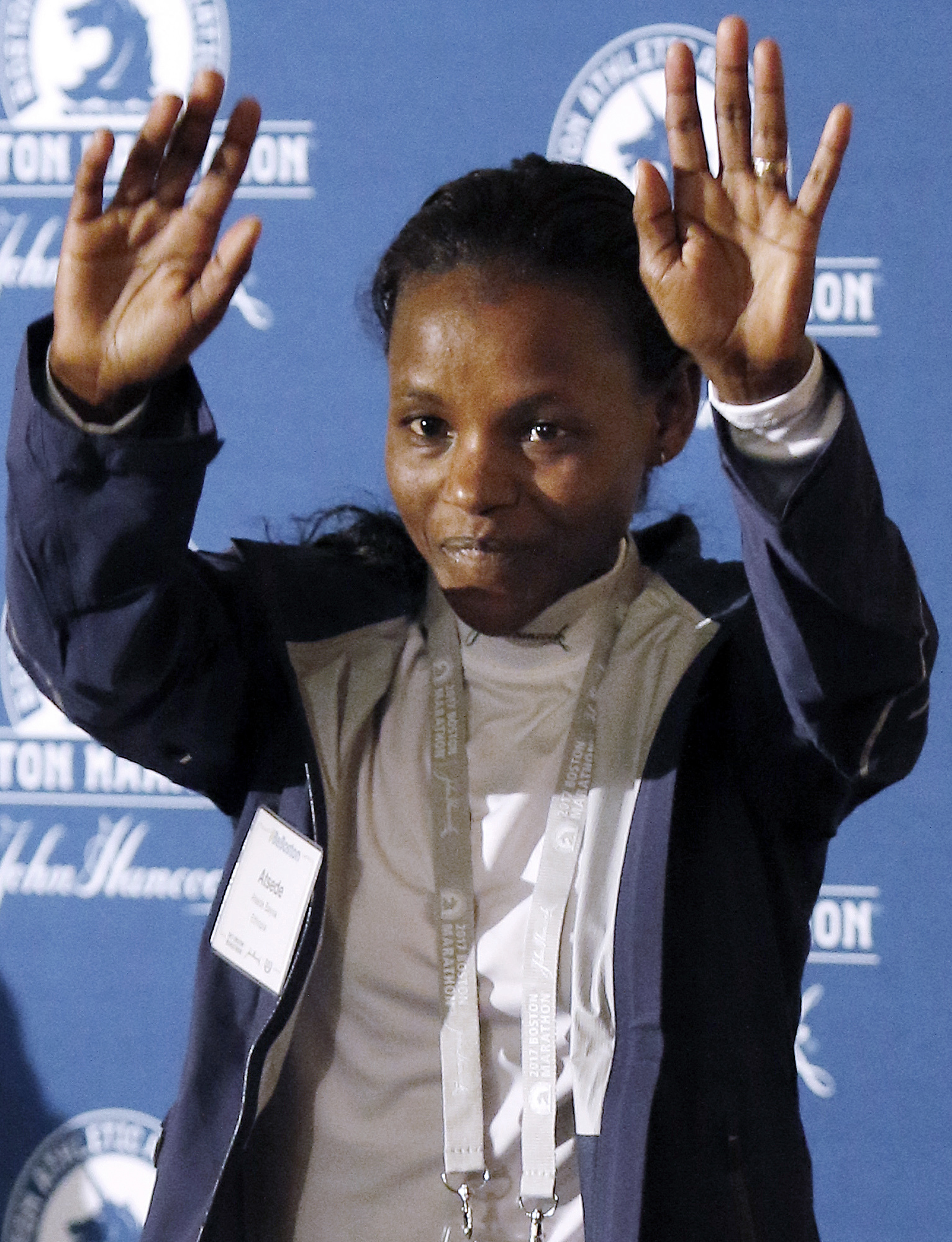 Top-seeded distance runner Atsede Baysa, of Ethiopia, participates in a Boston Marathon media availability Friday, April 14, 2017, in advance of Monday's race in Boston. (AP Photo/Bill Sikes)