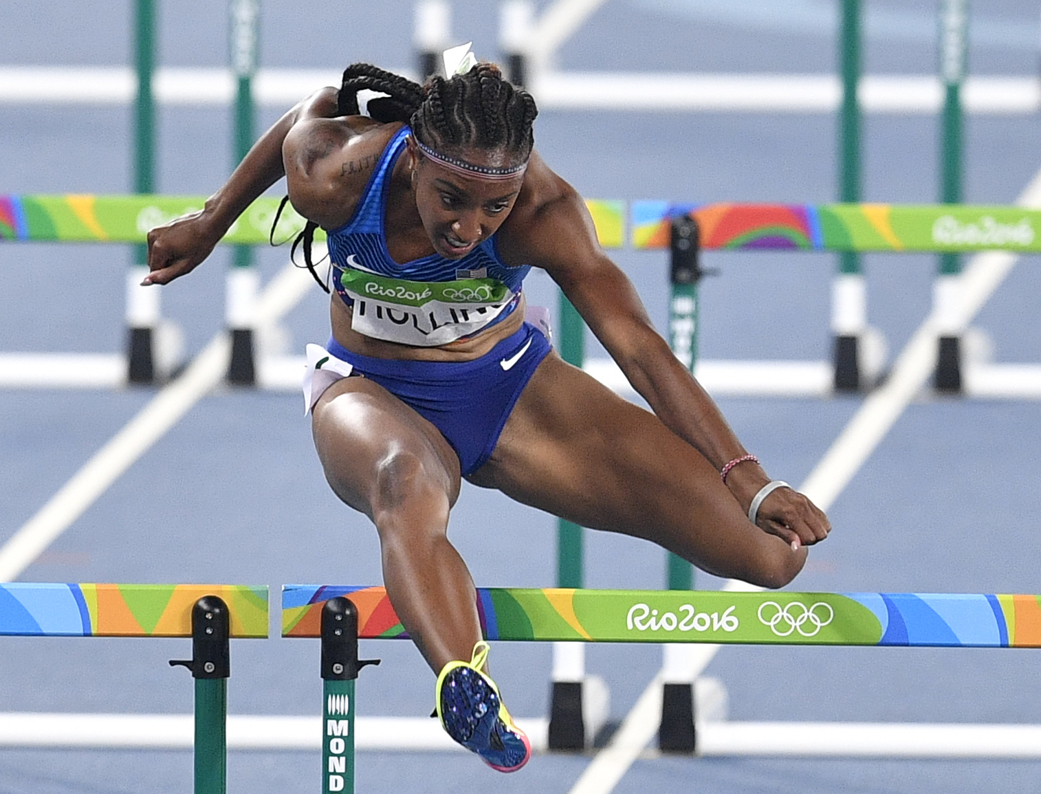 FILE - In this Aug. 17, 2016, file photo, United States' Brianna Rollins competes in the women's 100-meter hurdles final during the athletics competitions of the 2016 Summer Olympics at the Olympic stadium in Rio de Janeiro, Brazil. Rollins has received a