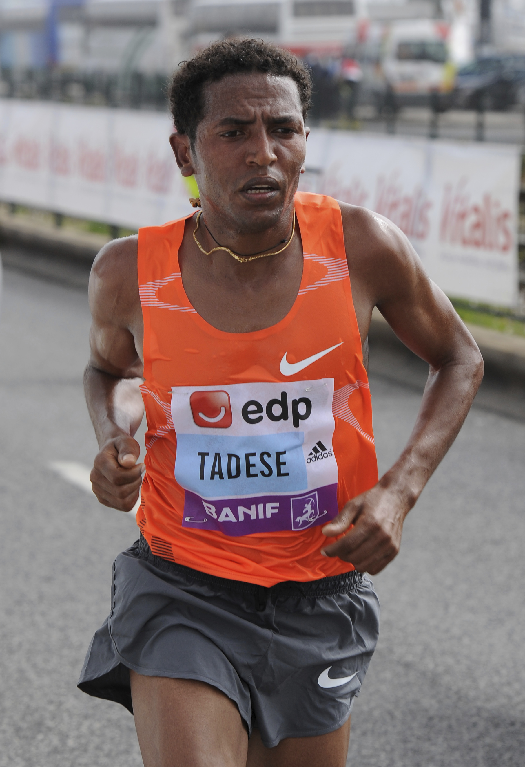 FILE - In this Sunday, March 21 2010 file photo, Zersenay Tadese, from Eritrea, runs on his way to win the Lisbon half-marathon Sunday, March 21 2010, in Lisbon. On the 63rd anniversary of Roger Bannister breaking the four-minute mile, three elite athlete
