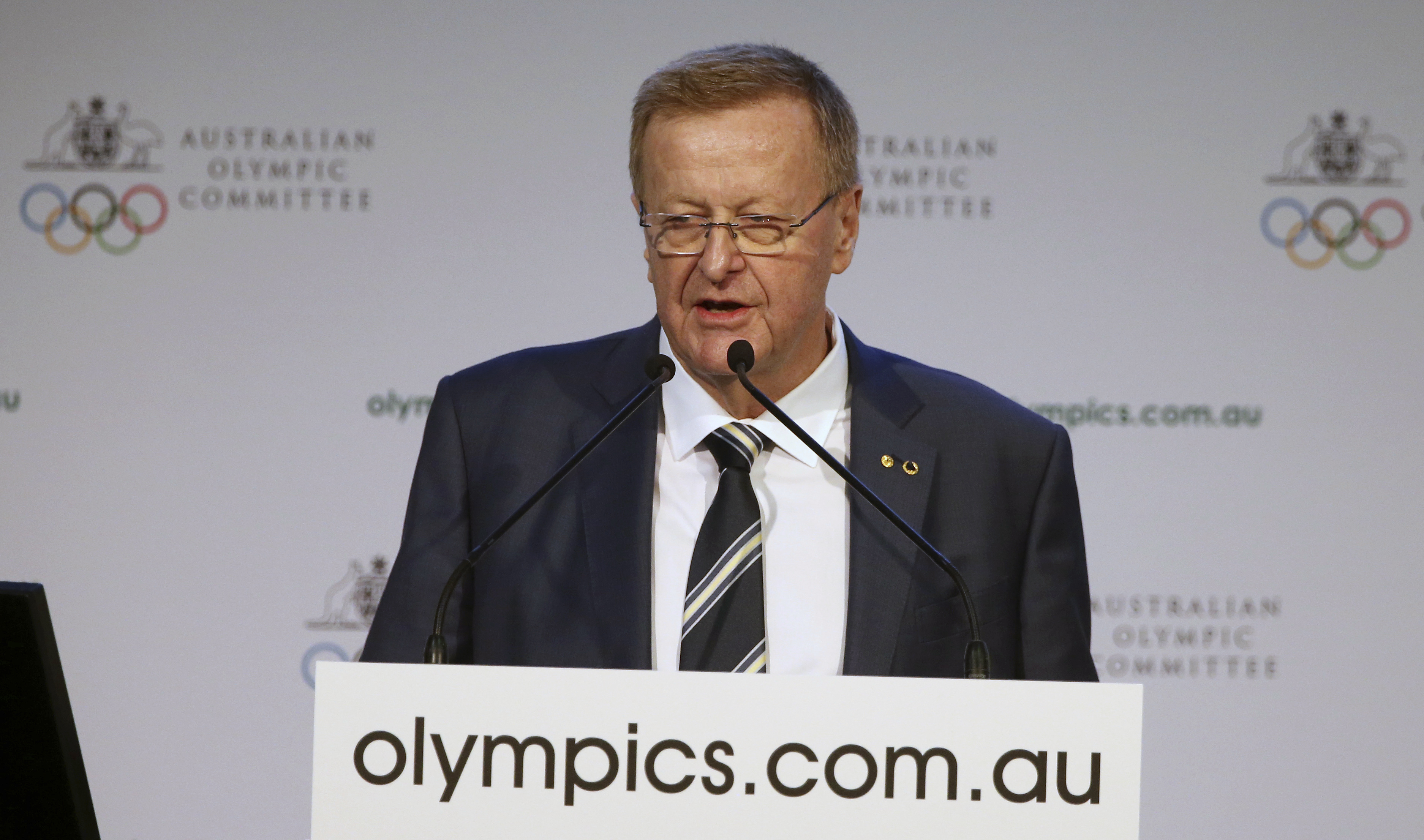 Australian Olympic Committee President John Coates comments on his re-election during the AOC's annual general meeting in Sydney, Saturday, May 6, 2017. Coates will serve another four-year term as president of the Australian Olympic Committee after beatin