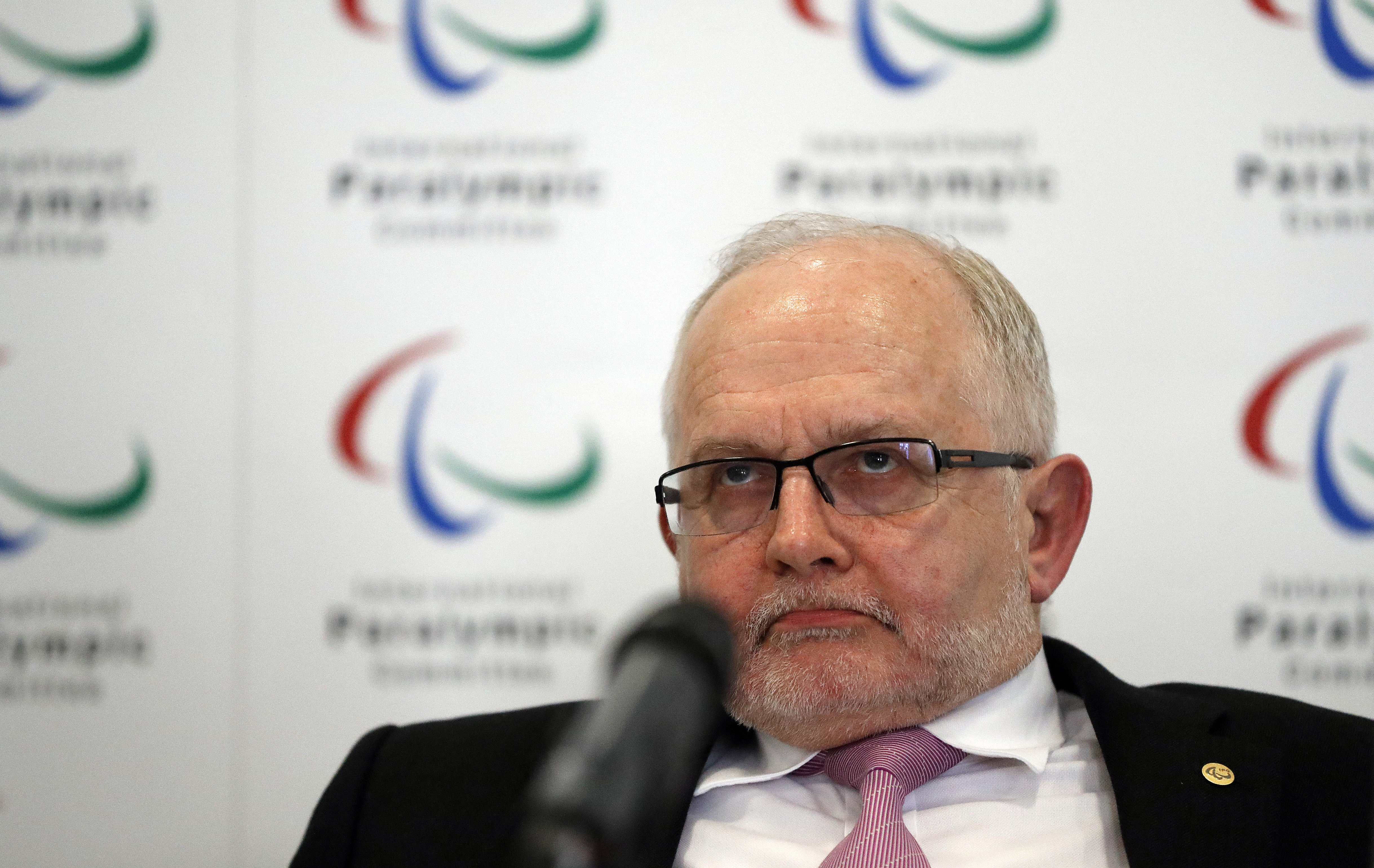 International Paralympic Committee (IPC) President Philip Craven listens during a press conference, in London, Monday, May 22, 2017. The International Paralympic Committee says there is a strong chance that Russia will be banned from the 2018 Winter Paral