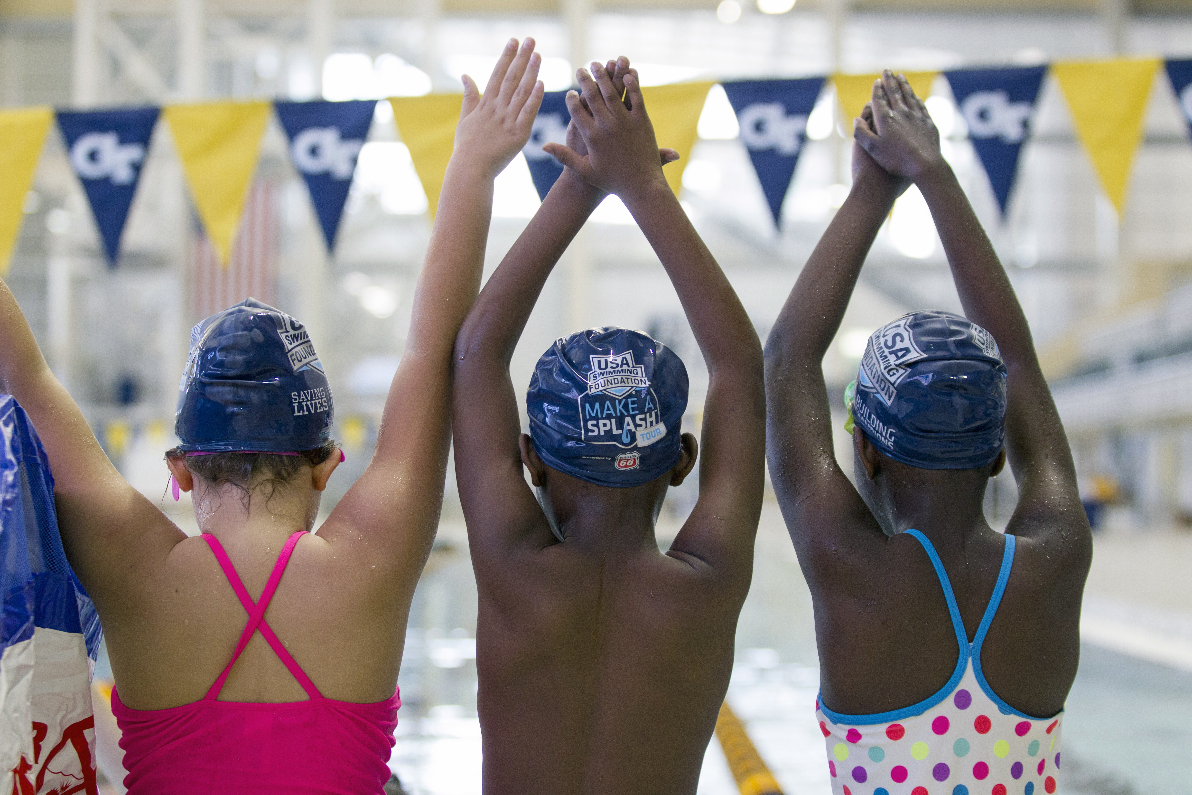 This June 2015 photo provided by the USA Swimming Foundation shows children during a swimming lesson in Nederland, Texas, as part of the USA Swimming Foundation's Make a Splash program. A study released Thursday, May 25, 2017, found that found nearly 64 p