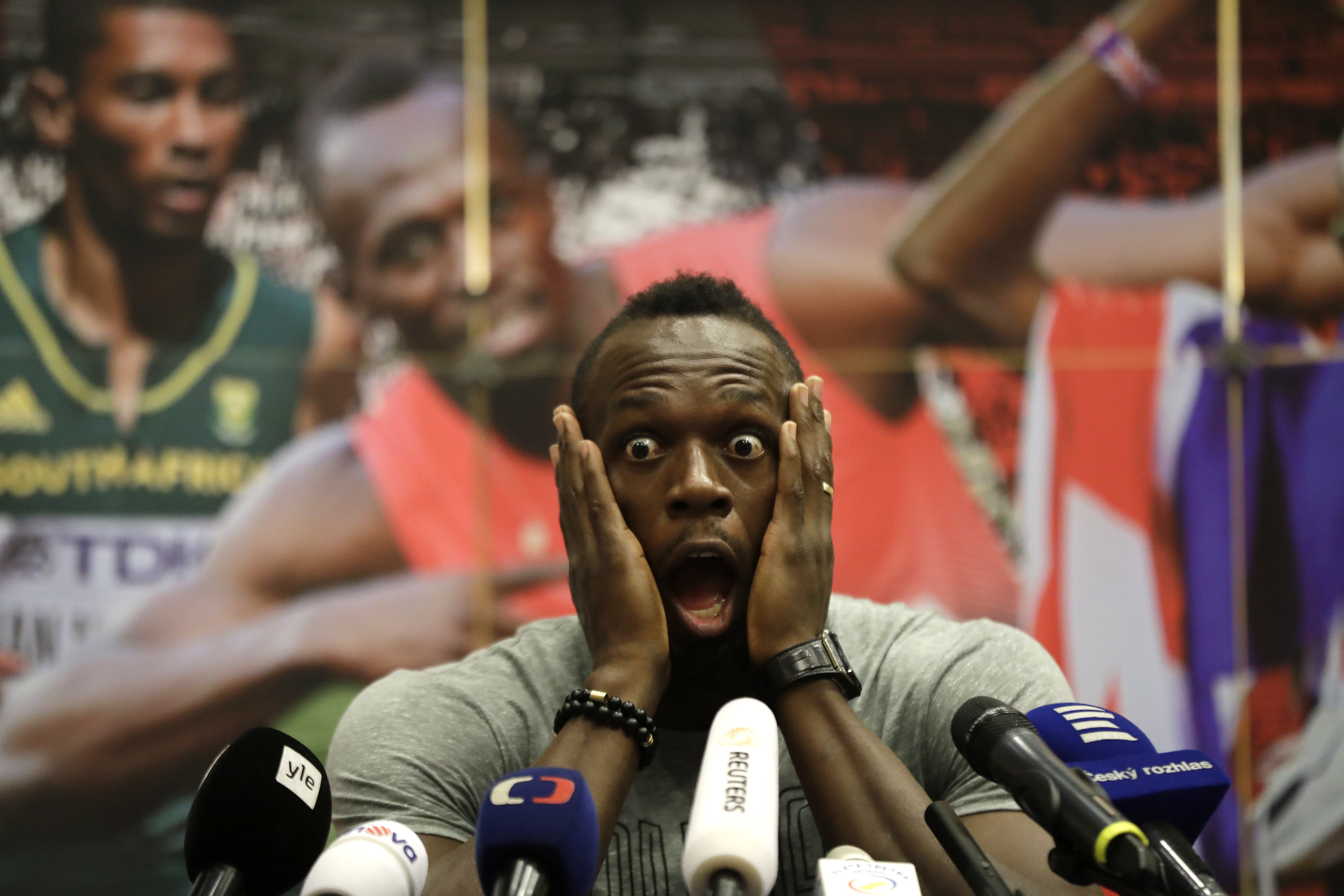 Jamaica's sprinter Usain Bolt grimaces during a press conference prior Golden Spike Athletic meeting in Ostrava, Czech Republic, Monday, June 26, 2017. Bolt will compete in the 100 meters at the Golden Spike on Wednesday, June 28, 2017. (AP Photo/Petr Dav