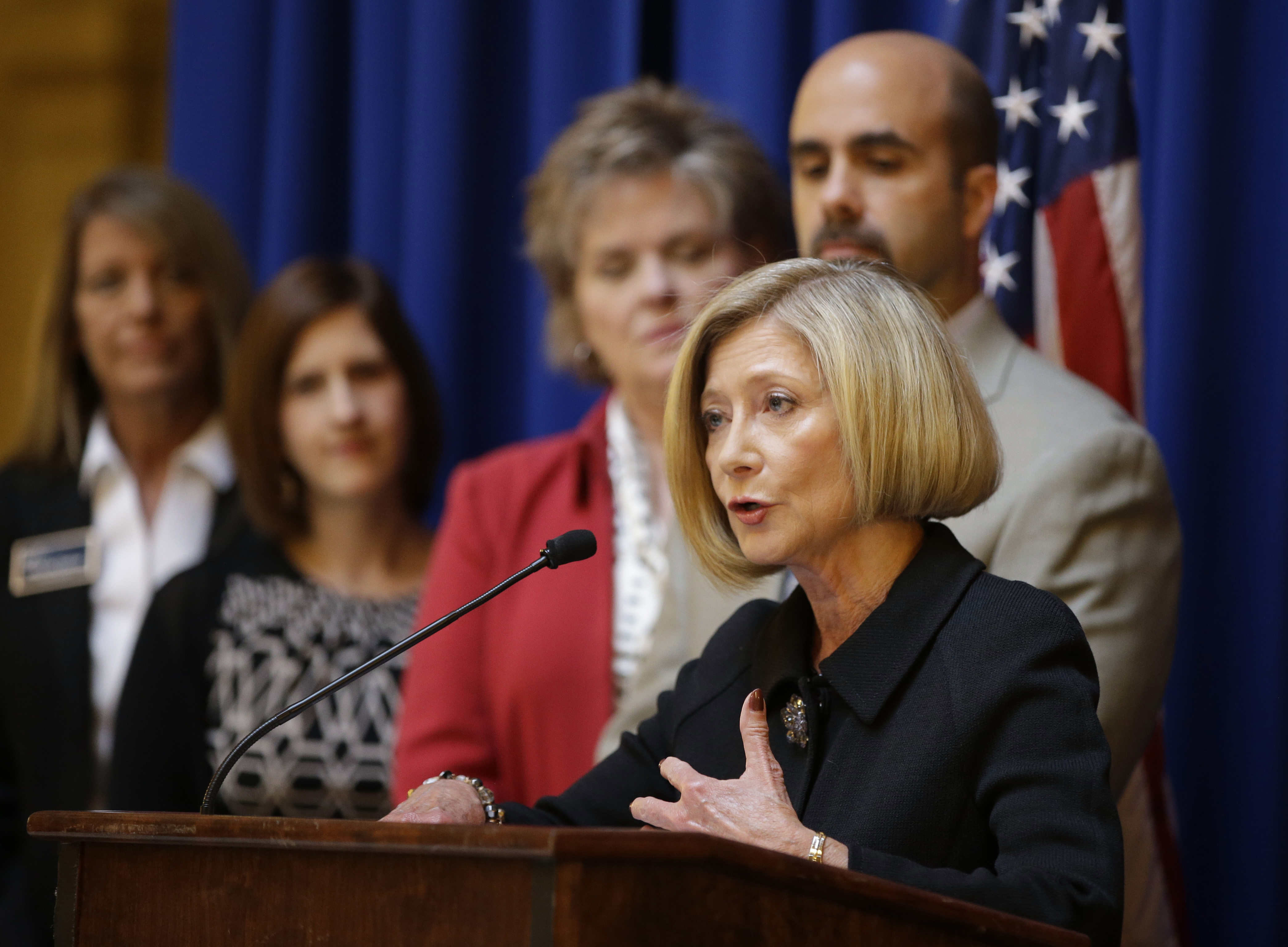 FILE - In this Sept. 23, 2015, file photo, former federal prosecutor Deborah Daniels speaks about the newly-formed Indiana Coalition to End Sexual Assault, at the Statehouse in Indianapolis. USA Gymnastics needs to undergo a complete cultural change to be