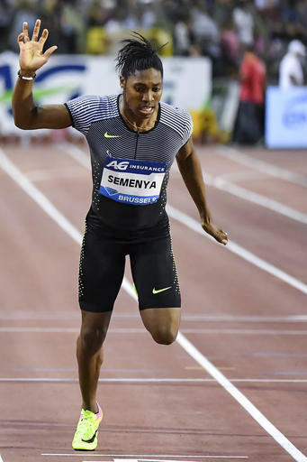 FILE - In this Sept. 9, 2016, file photo, Caster Semenya, of South Africa, wins the women's 400m at the Diamond League Memorial Van Damme athletics event in Brussels. A scientific paper published Monday, July 3, 2017, found that women who produce higher-t