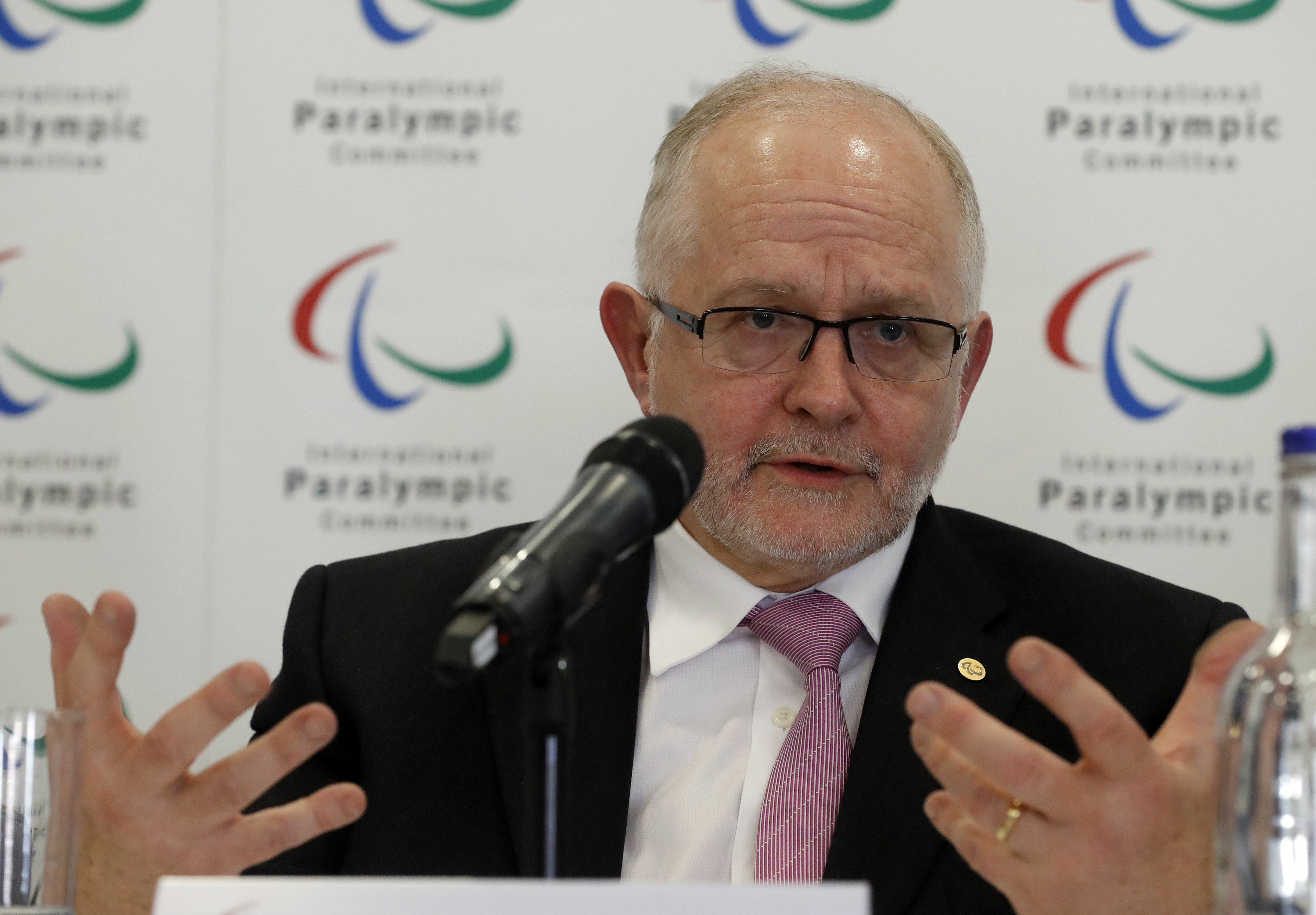FILE - A Monday, May 22, 2017 file photo of International Paralympic Committee (IPC) President Philip Craven during a press conference, in London. The host city for the 2024 Paralympics will be selected without the Paralympic leadership having a say in wh