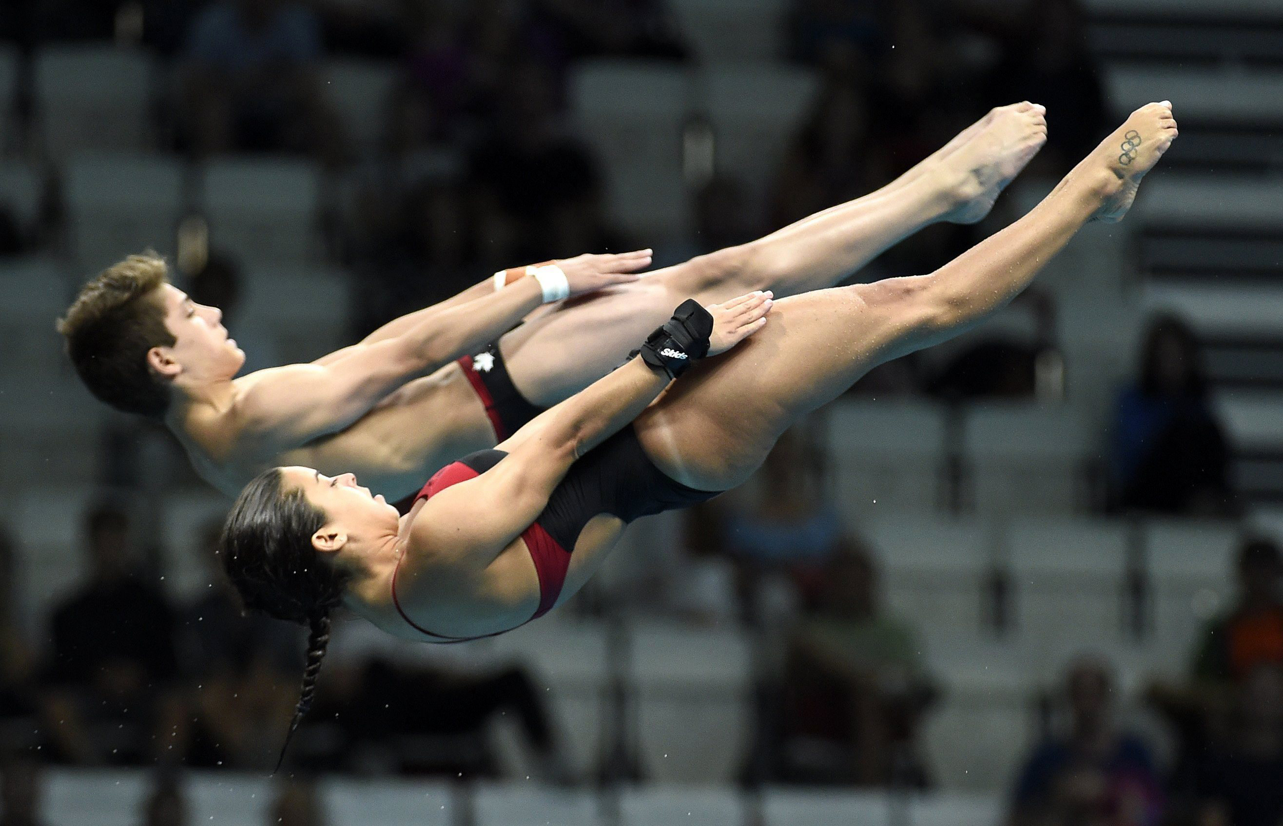 Meaghan Benfeito and Nathan Zsombor-Murray of Canada compete in the mixed diving 10m synchronised platform final st the Swimming World Championships 2017 in Duna Arena in Budapest, Hungary, Saturday, July 15, 2017. (Balazs Czagany/MTI via AP)