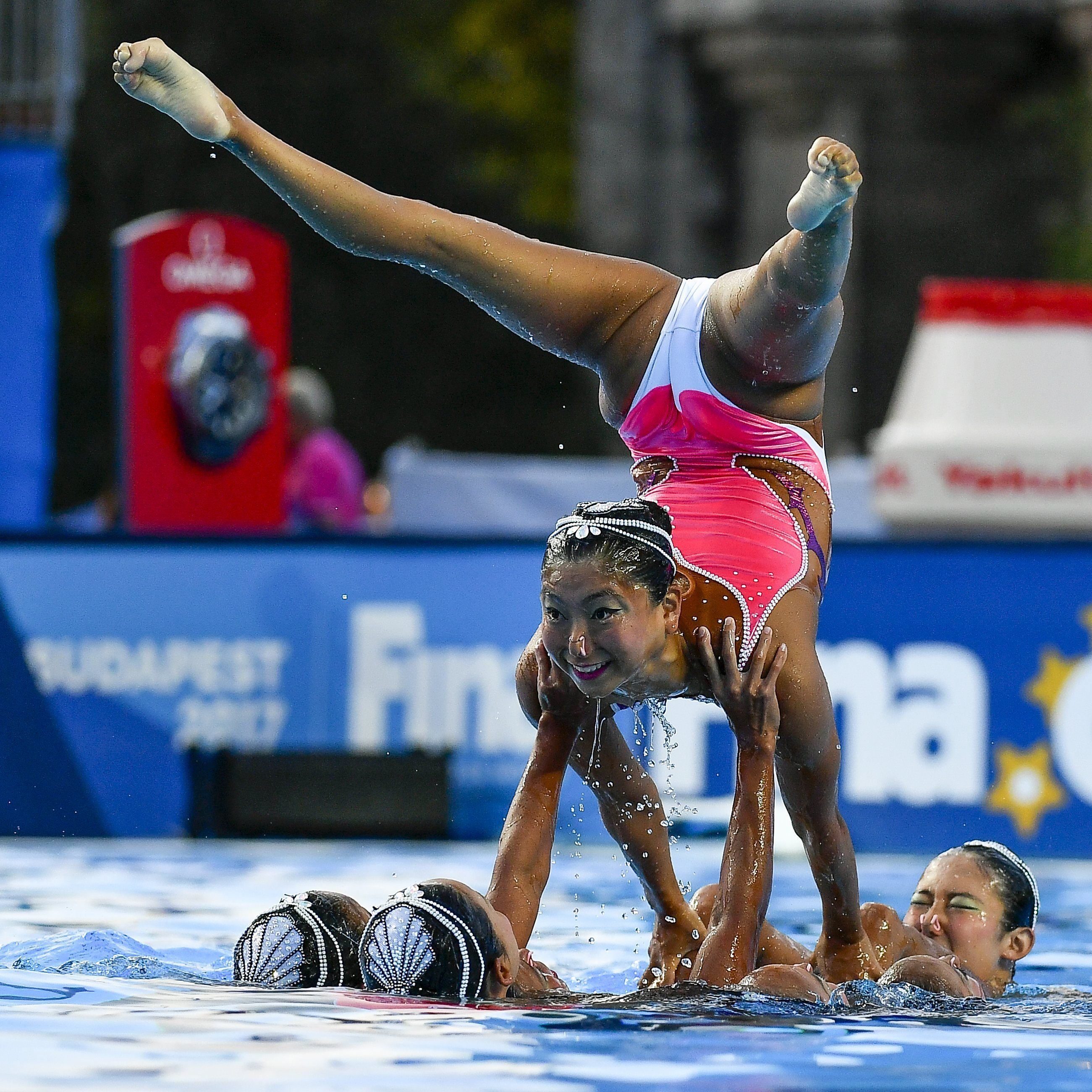 Team Japan performs during the Women's Free Combination Synchronized Swimming Preliminary Free Combination of the 17th FINA World Championships 2017 in Budapest, Hungary, Thursday, July 20, 2017. (Zsolt Czegledi/MTI via AP)