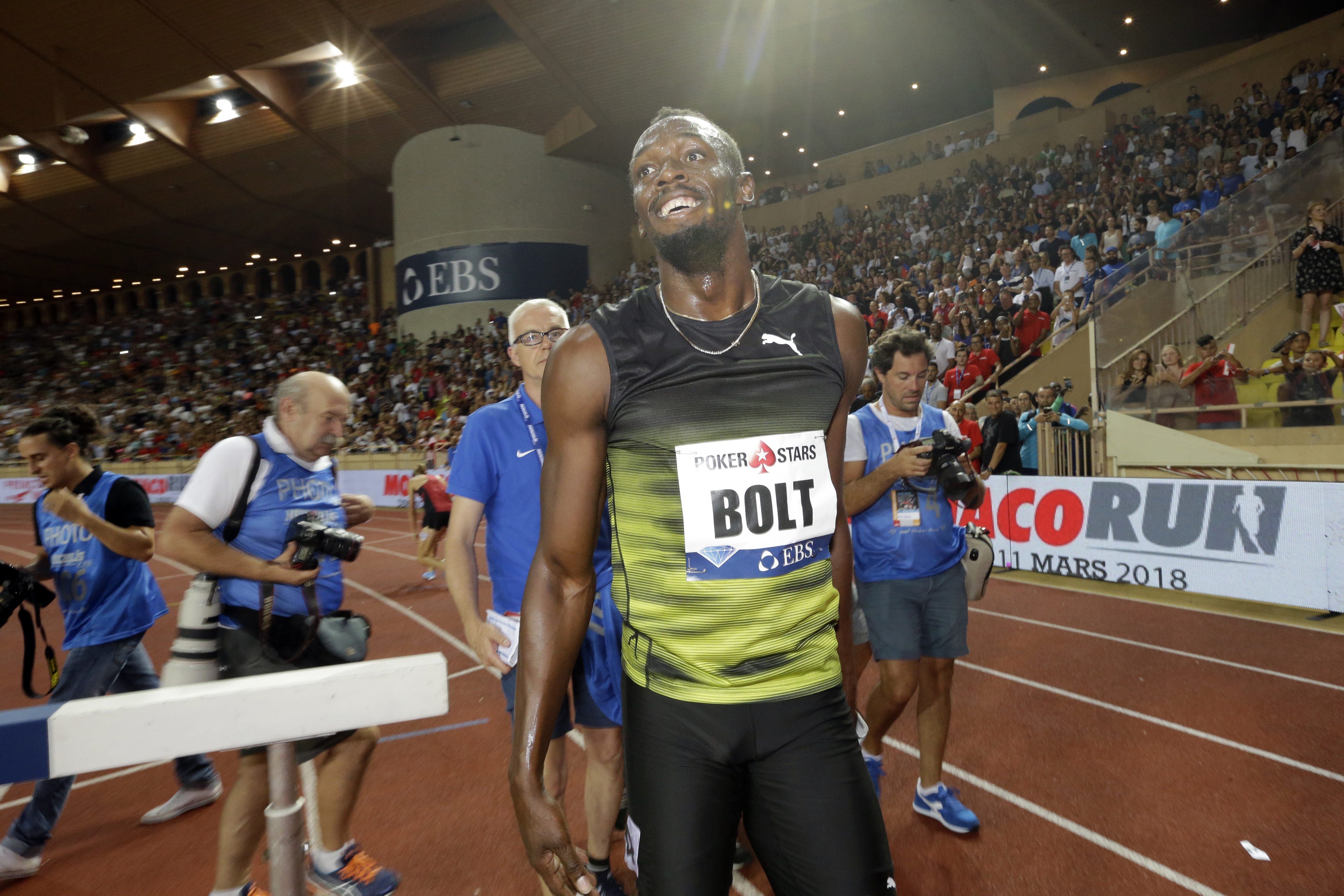 Usain Bolt from Jamaica reacts after winning the men's 100m race at the IAAF Diamond League Athletics meeting at the Louis II Stadium in Monaco, Friday, July 21, 2017. Eight-time Olympic champion Usain Bolt competes in his final Diamond League meeting ahe
