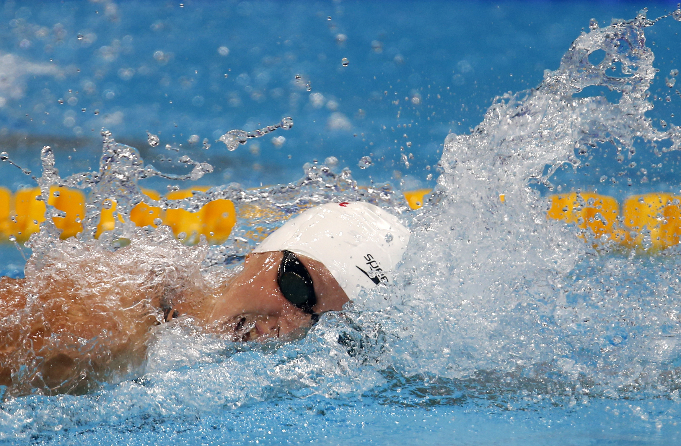 United States' Katie Ledecky competes in a women's 200-meter freestyle heat during the swimming competitions of the World Aquatics Championships in Budapest, Hungary, Tuesday, July 25, 2017. (AP Photo/Darko Bandic)