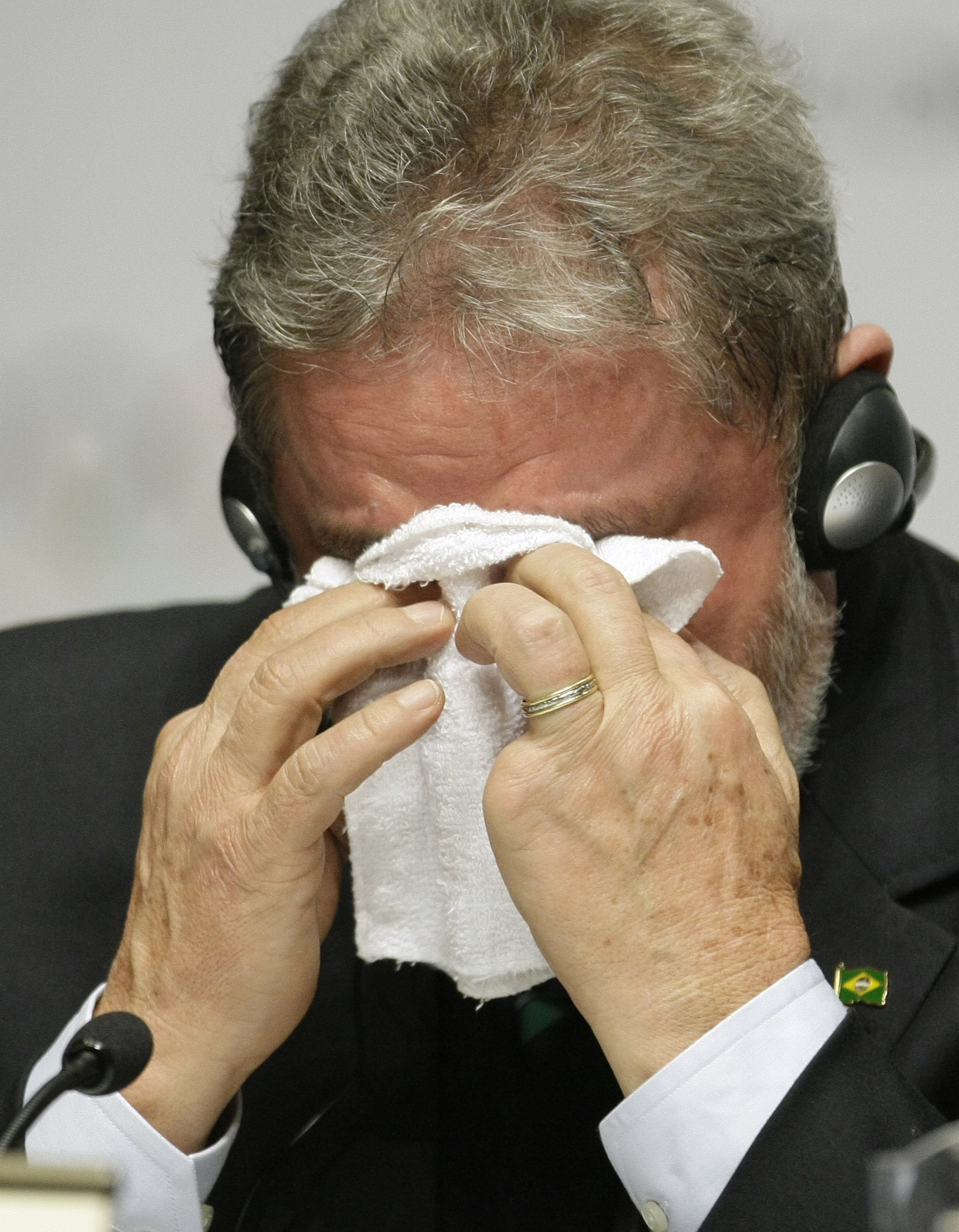 FILE - In this  Oct. 2, 2009 file photo, Brazilian President Luiz Inacio Lula de Silva wipes away tears during a press conference after Rio de Janiero was awarded the 2016 Olympic Games during the 121st IOC session in Copenhagen. Da Silva, who wept tears