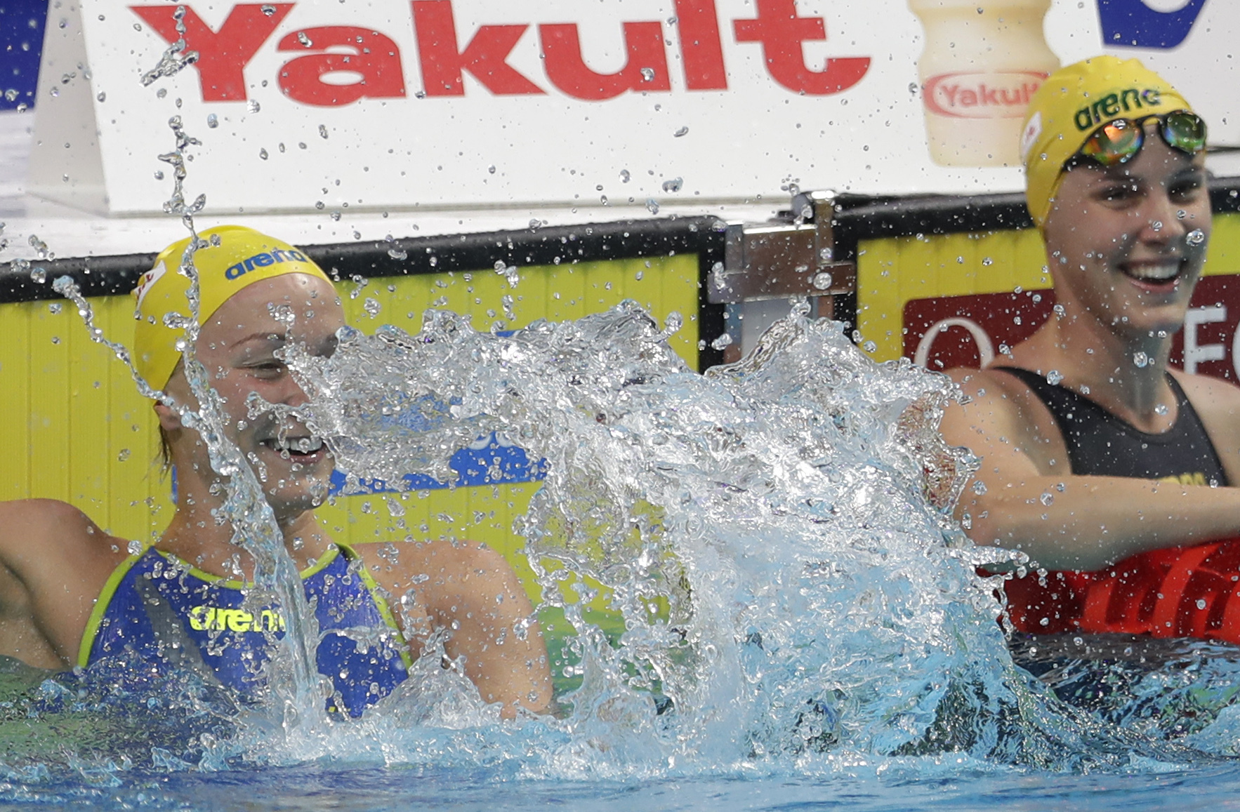 Sweden's Sarah Sjostrom celebrates after setting a new world record in a women's 50-meter freestyle semifinal during the swimming competitions of the World Aquatics Championships in Budapest, Hungary, Saturday, July 29, 2017. (AP Photo/Petr David Josek)