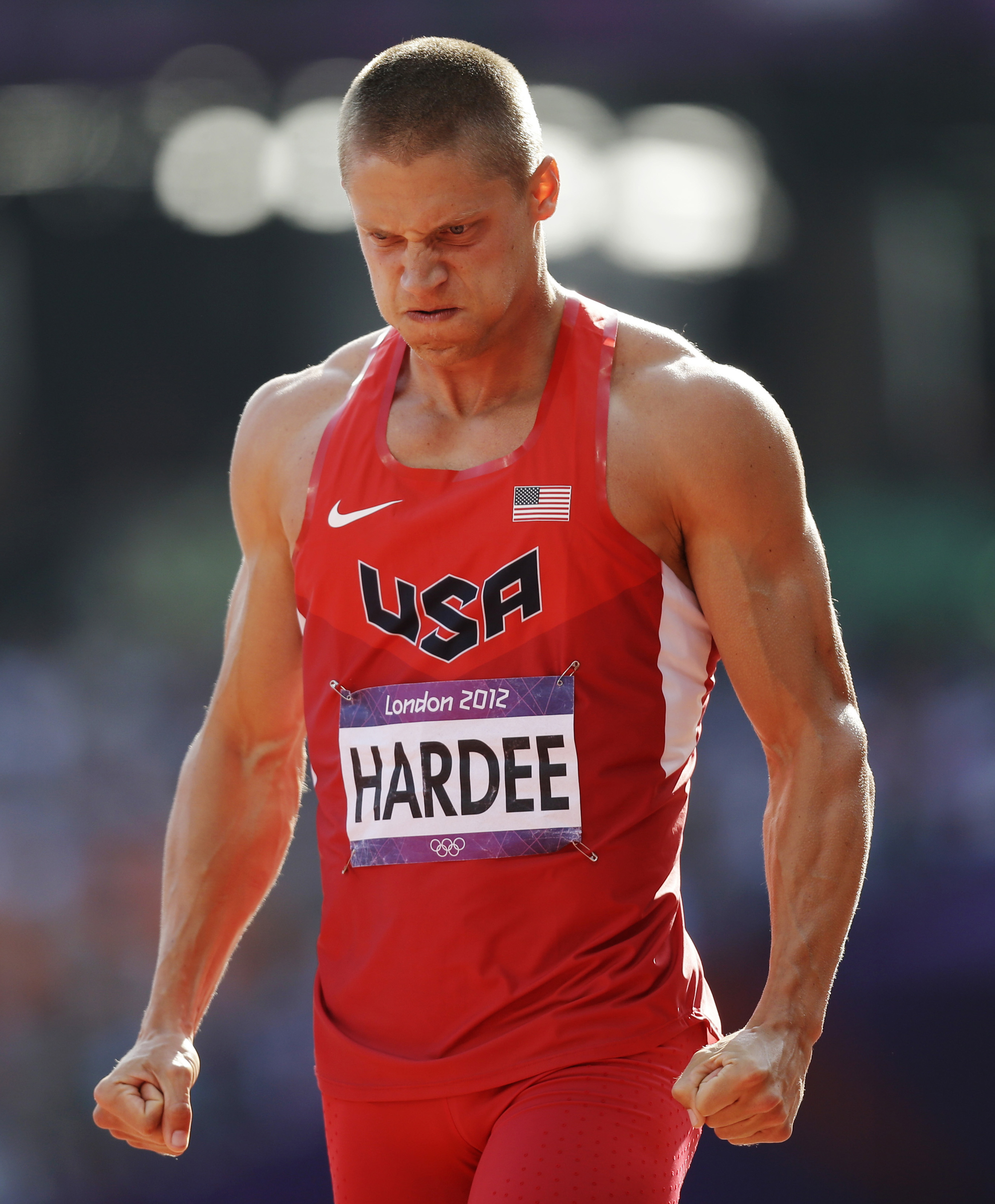 FILE - In this Aug. 9, 2012, file photo, United States' Trey Hardee reacts after competing in a 110-meter hurdles heat of the decathlon at the 2012 Summer Olympics in London. Hardee wants to set the record straight: No, he's not retired. Never has been. T