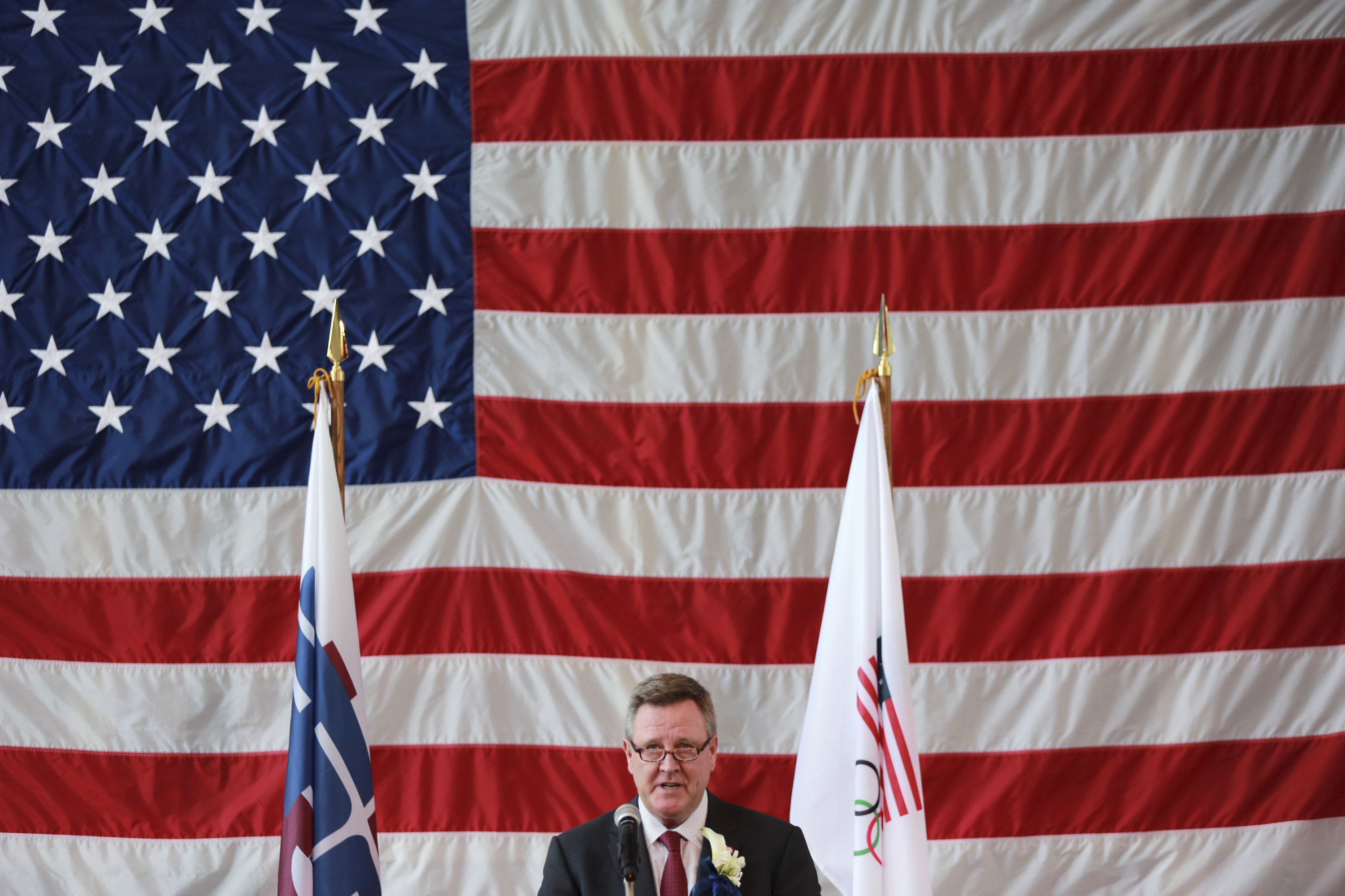 U.S. Olympic Committee CEO Scott Blackmun speaks at Tokyo American Club in Tokyo Wednesday, Aug. 2, 2017. The U.S. Olympic team will be based at the Tokyo American Club during the 2020 Tokyo Olympics, USOC officials announced on Wednesday. (AP Photo/Eugen