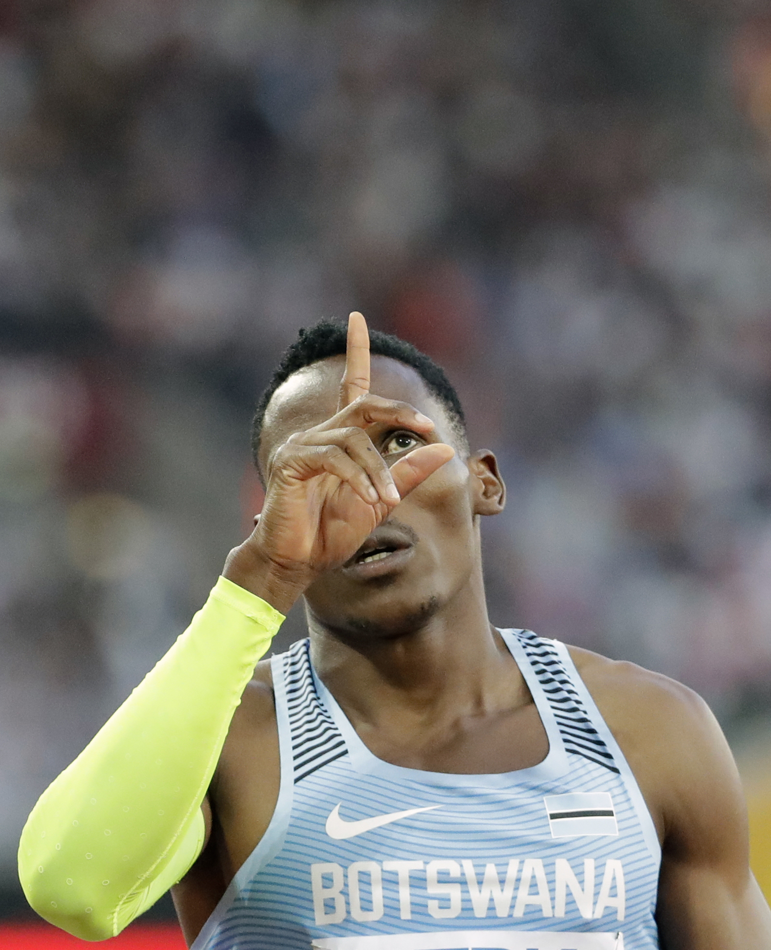 Botswana's Isaac Makwala gestures after winning a Men's 400m semifinal during the World Athletics Championships in London Sunday, Aug. 6, 2017. (AP Photo/David J. Phillip)
