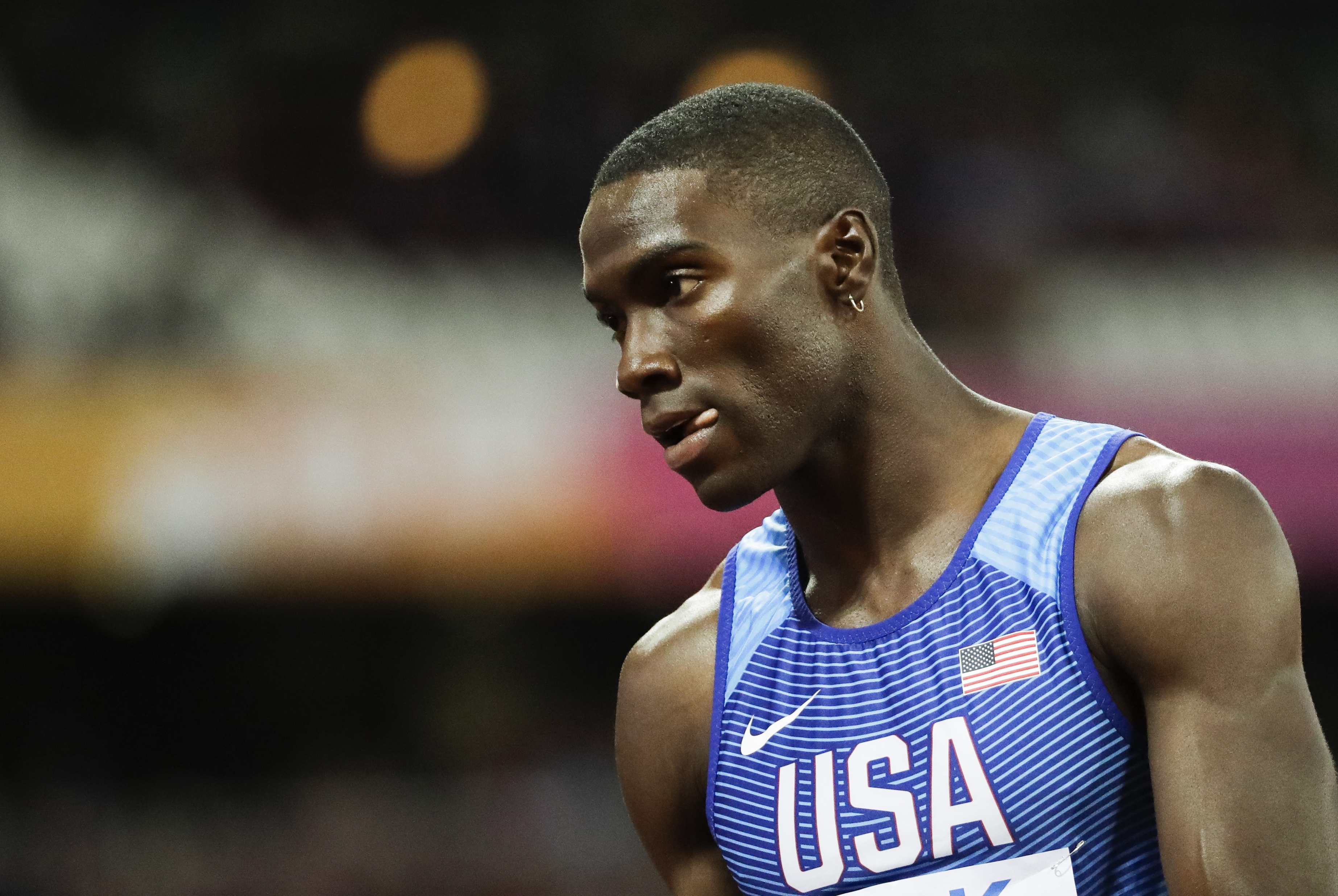 United States' Kerron Clement leaves the track after finishing a Men's 400m hurdles semifinal during the World Athletics Championships in London Monday, Aug. 7, 2017. (AP Photo/David J. Phillip)
