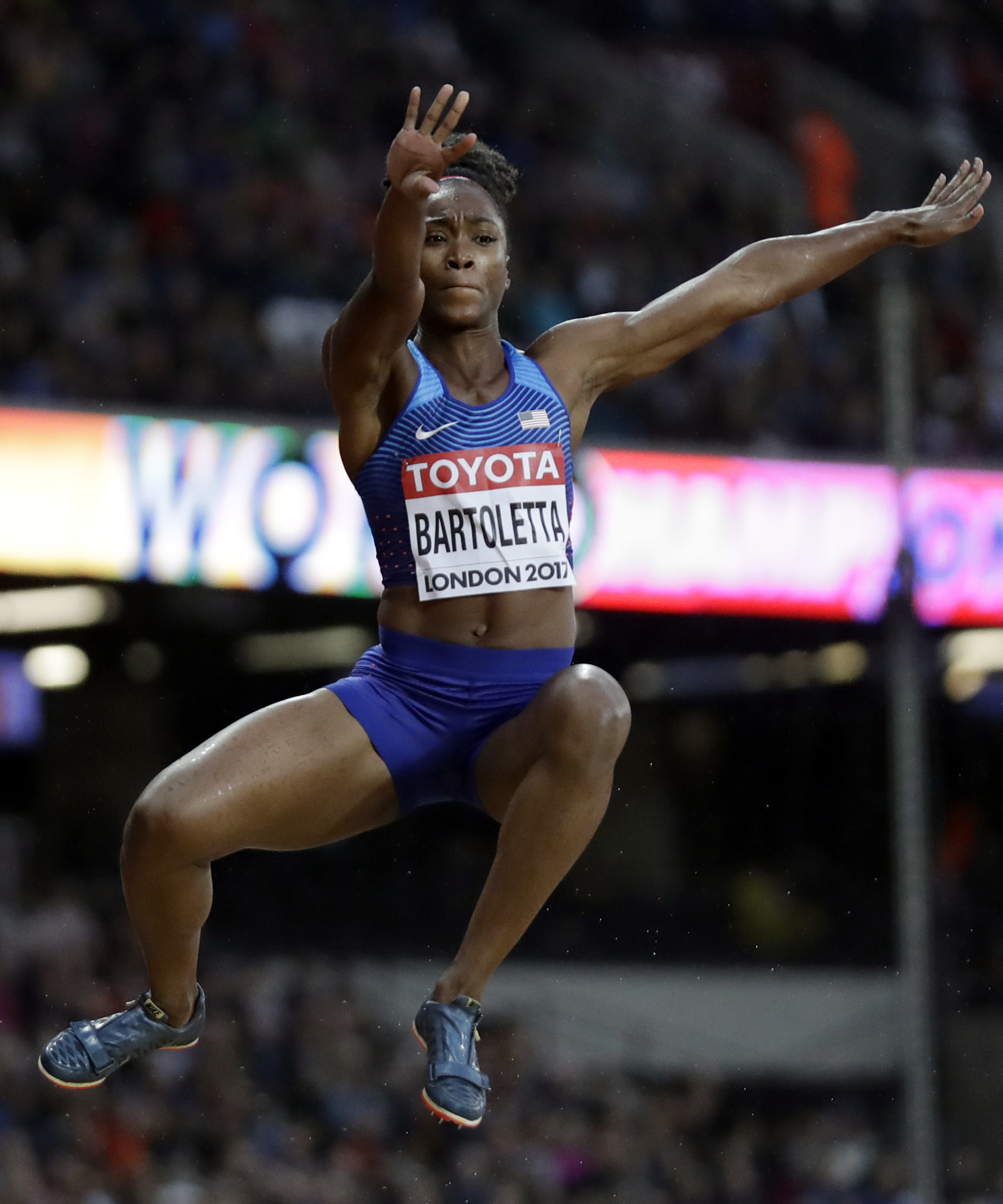 United States' Tianna Bartoletta makes an attempt in the women's long jump qualification during the World Athletics Championships in London Wednesday, Aug. 9, 2017. (AP Photo/Matt Dunham)