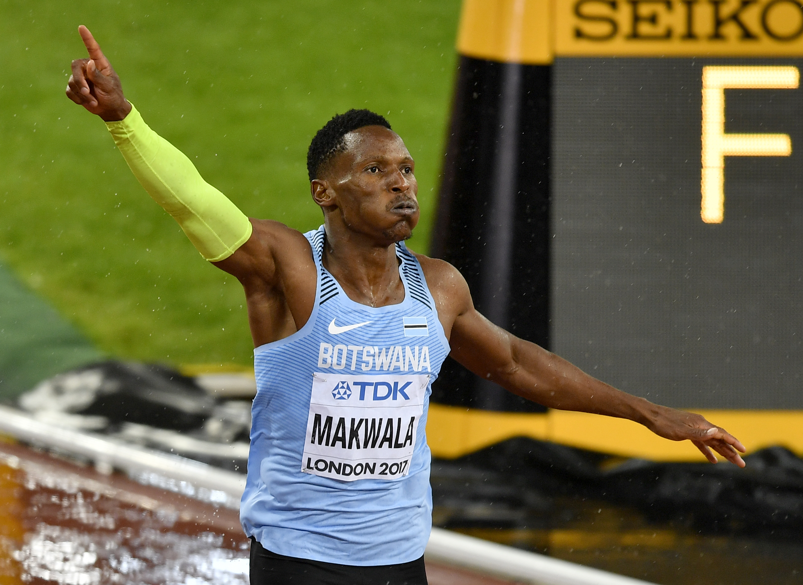 Botswana's Isaac Makwala reacts after crossing the finish line in his heat of the Men's 200 meters semifinal at the World Athletics Championships in London Wednesday, Aug. 9, 2017. (AP Photo/Martin Meissner)