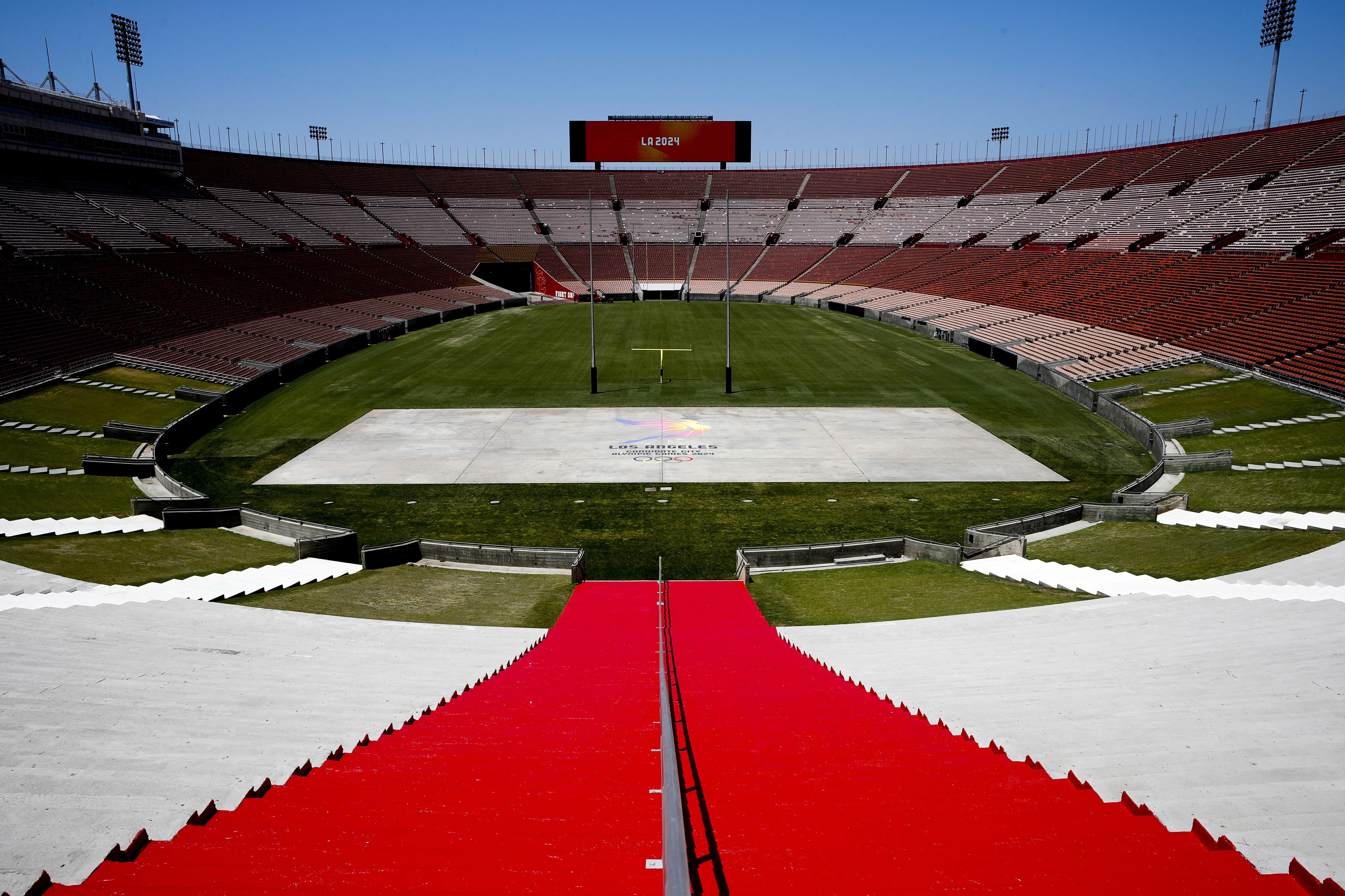 FILE - In this May 11, 2017, file photo, Los Angeles Memorial Coliseum, the venue proposed for Olympic opening and closing ceremonies and track and field events. stands in Los Angeles. The Los Angeles City Council is expected Friday, Aug. 11, 2017 to endo