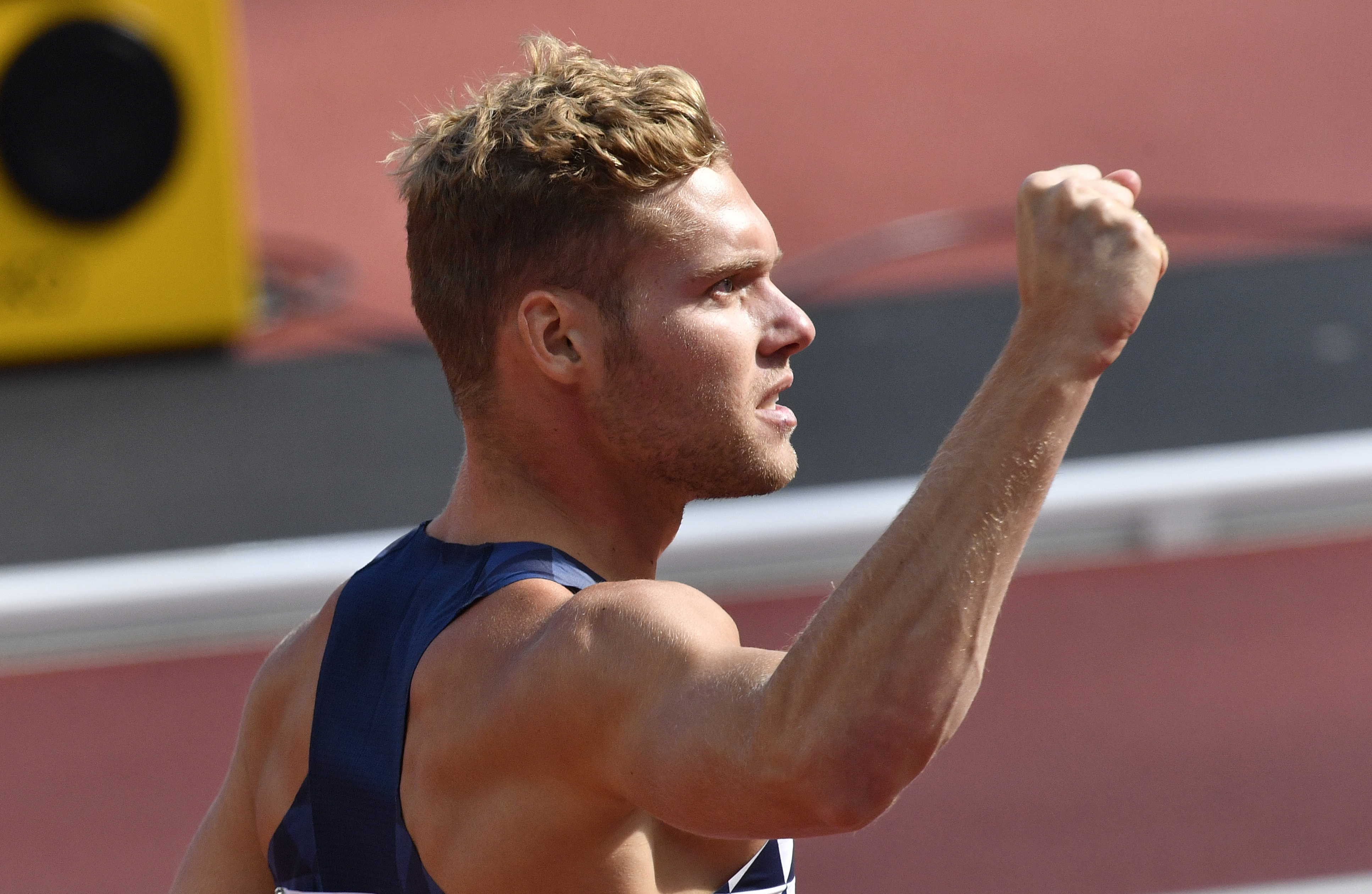 France's Kevin Mayer celebrates after setting a new personal best in the 100m event of the decathlon during the World Athletics Championships in London Friday, Aug. 11, 2017. (AP Photo/Martin Meissner)