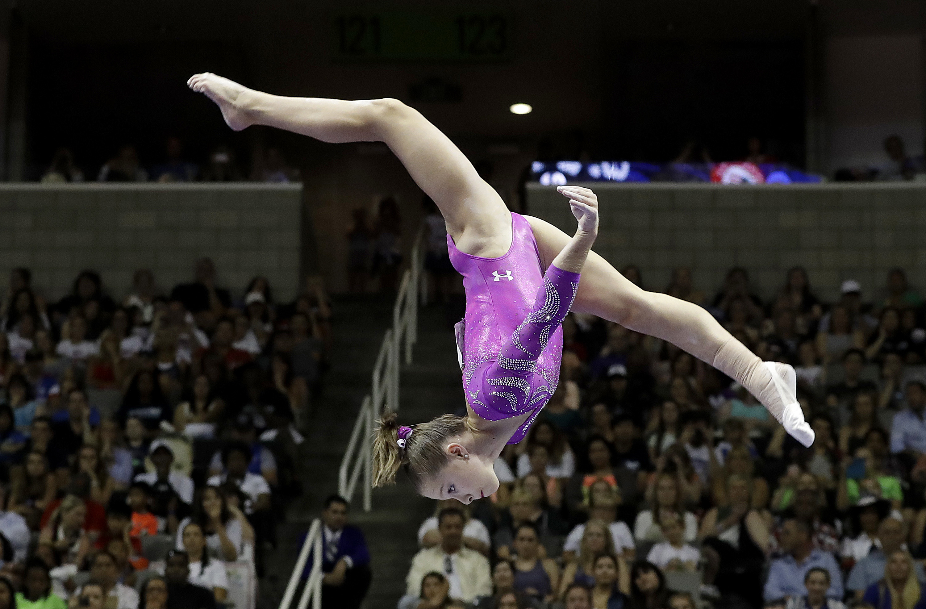 FILE - In this July 10, 2016, file photo, Ragan Smith competes on the balance beam during the U.S. Olympic gymnastics trials in San Jose, Calif. This weekend marks the first time since 1985 that no one on the previous Olympic team returned to compete the