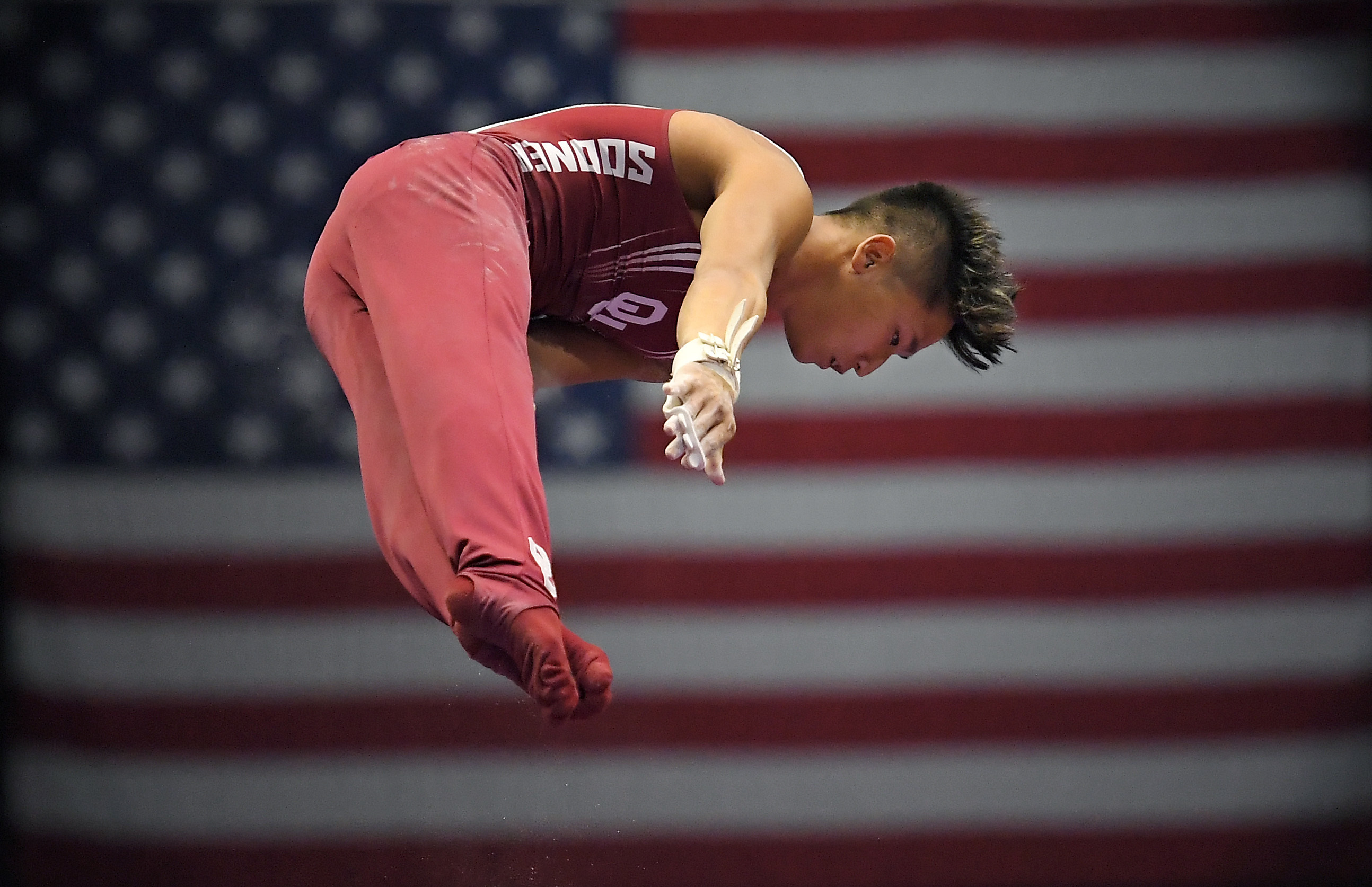 Yup Moldauer competes on the high bar during men's final round of the men's U.S. gymnastics championships, Saturday, Aug. 19, 2017, in Anaheim, Calif. Moldauer won the overall title. (AP Photo/Mark J. Terrill)