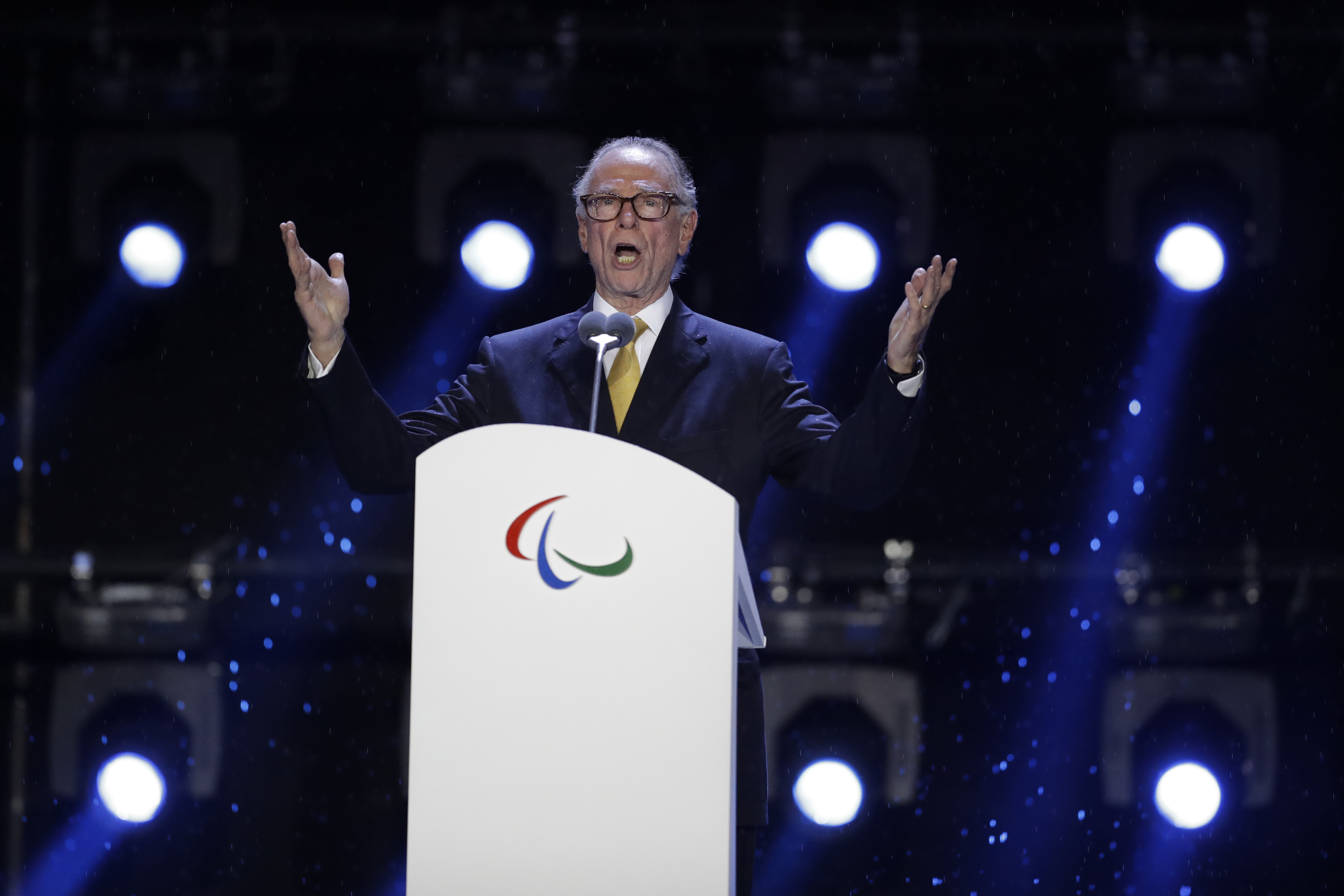 FILE - In this Sept. 18, 2016, file photo, Carlos Nuzman, President of the Rio 2016 Organizing Committee, speaks during the closing ceremony of the Rio 2016 Paralympic Games at the Maracana Stadium in Rio de Janeiro, Brazil. Senior International Olympic C
