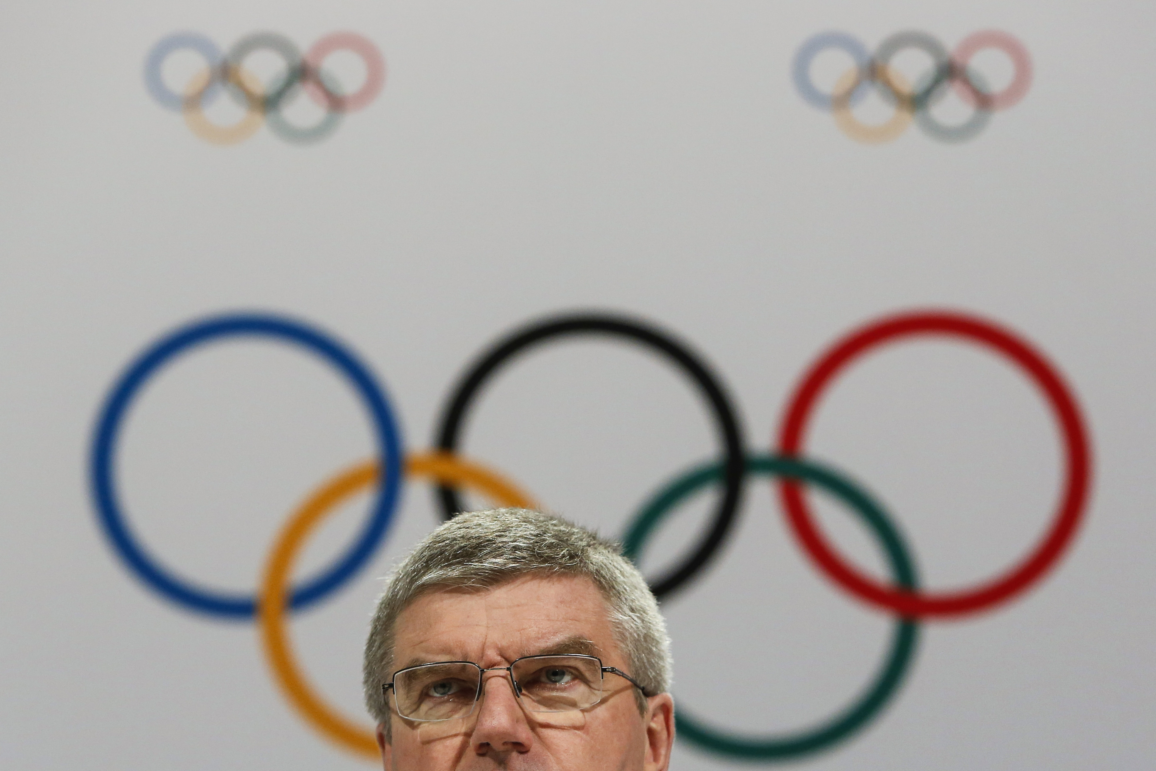 FILE - In this Aug. 3, 2015 file photo, International Olympic Committee President Thomas Bach speaks at a press conference after the 128th IOC session in Kuala Lumpur, Malaysia. After a debacle in Boston, the U.S. Olympic Committee turned to Los Angeles t