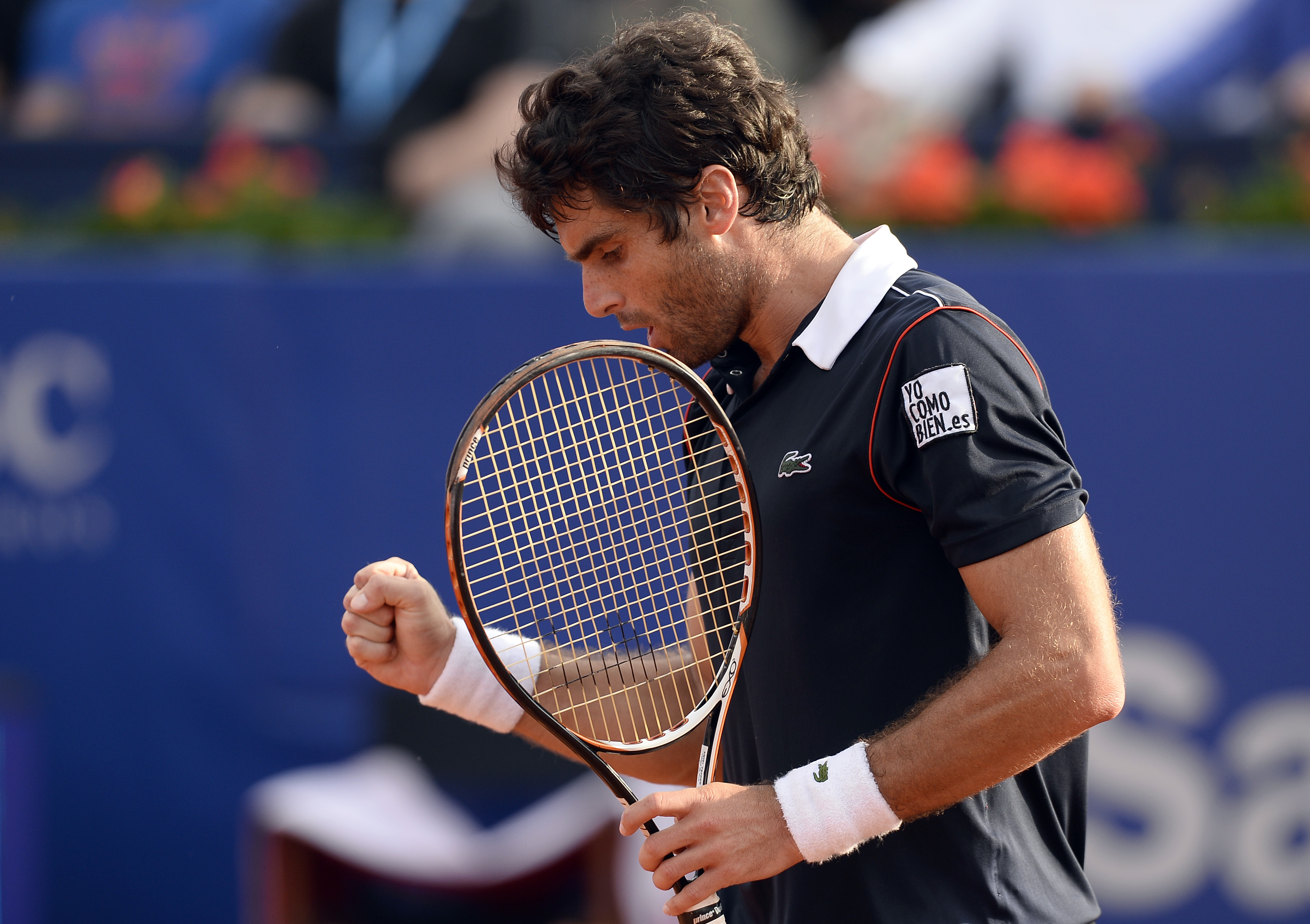 Spain's Pablo Andujar celebrates a point during the Barcelona Open tennis tournament final with Kei Nishikori of Japan in Barcelona, Spain, Sunday, April 26, 2015. (AP Photo/Manu Fernandez)