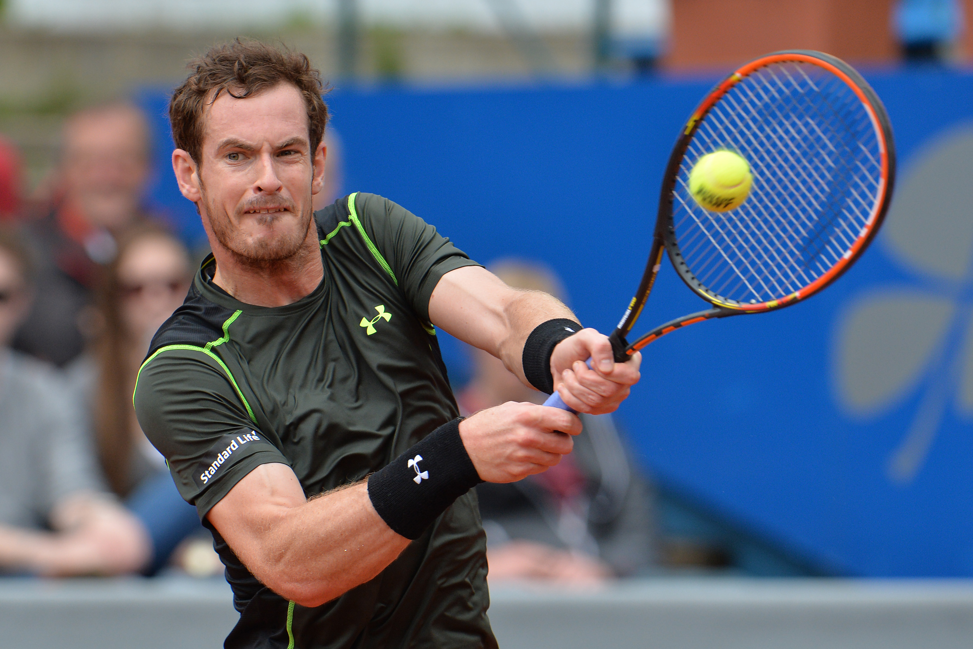Britain's Andy Murray returns the ball to Germany's Philipp Kohlschreiber during the final match at the BMW Open tennis tournament in Munich, Germany, Monday, May. 4, 2015. (AP Photo/Kerstin Joensson)