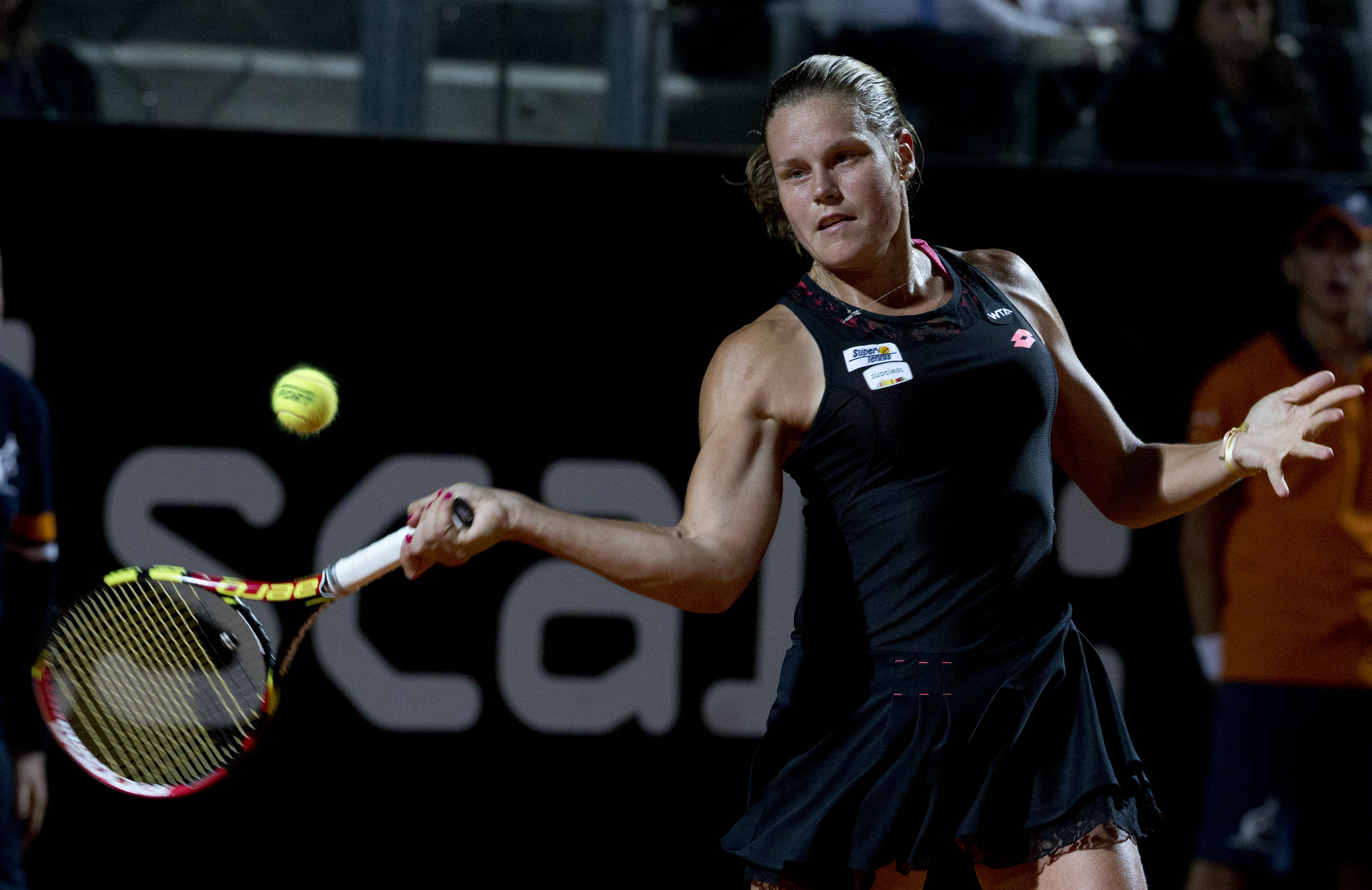 Karin Knapp, of Italy, returns the ball to Petra Kvitova, of the Czech Republic, during their match at the Italian Open tennis tournament, in Rome, Wednesday, May 13, 2015. (AP Photo/Andrew Medichini)