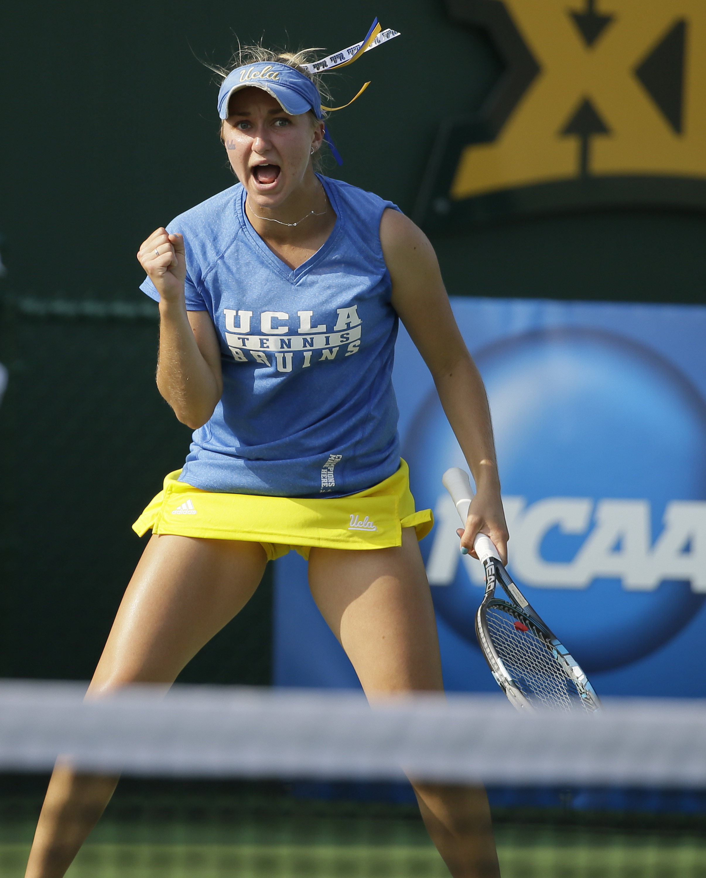 UCLA's Catherine Harrison reacts to a play during the NCAA's women's team tennis championships against Vanderbilt, Tuesday, May 19, 2015, Waco, Texas. (AP Photo/LM Otero)
