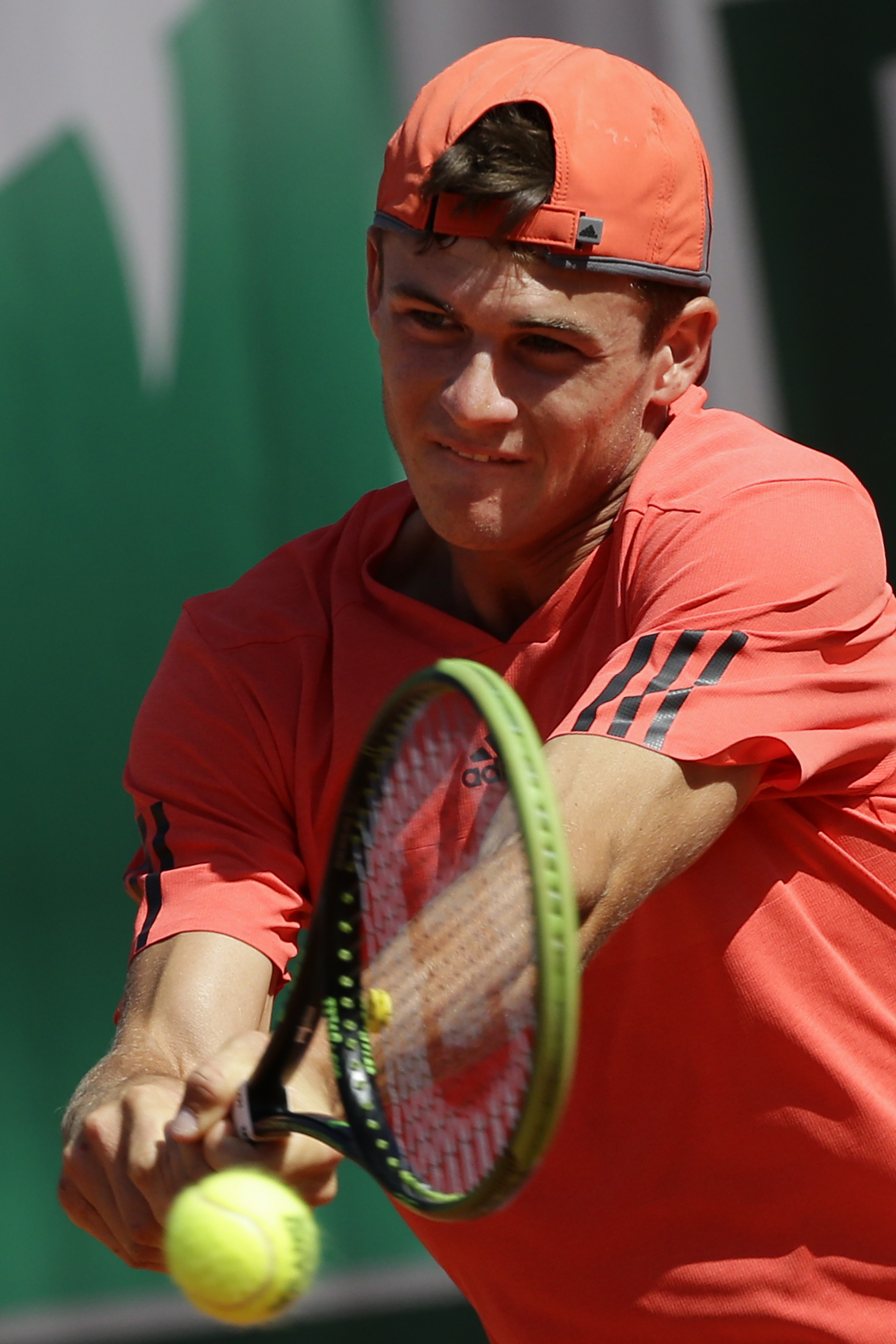 Tommy Paul of the U.S. returns in the boy's final match of the French Open tennis tournament against Taylor Harry Fritz of the U.S. at the Roland Garros stadium, in Paris, France, Saturday, June 6, 2015. (AP Photo/Thibault Camus)