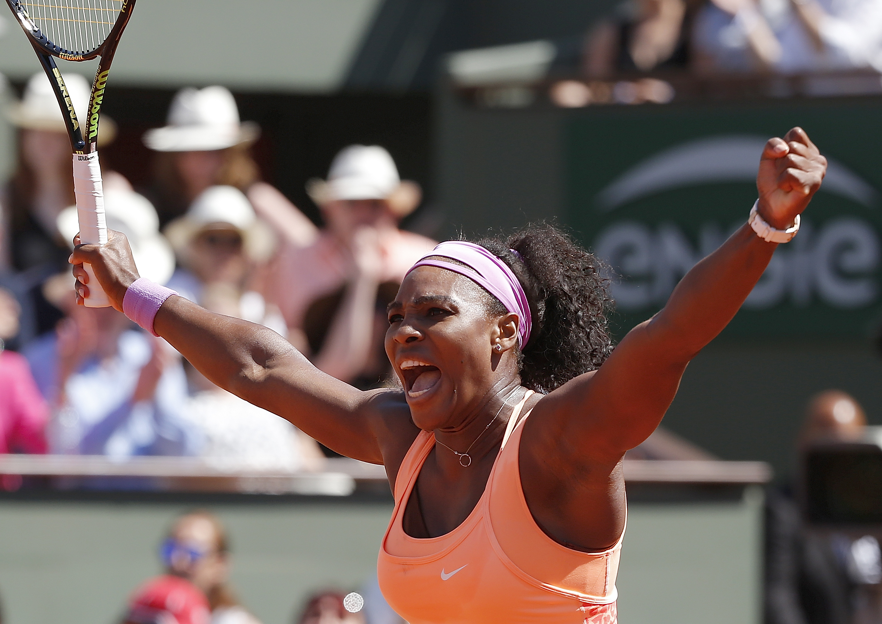 Serena Williams of the U.S. reacts she plays Lucie Safarova of the Czech Republic during their final match of the French Open tennis tournament at the Roland Garros stadium, Saturday, June 6, 2015 in Paris.  (AP Photo/Michel Euler)