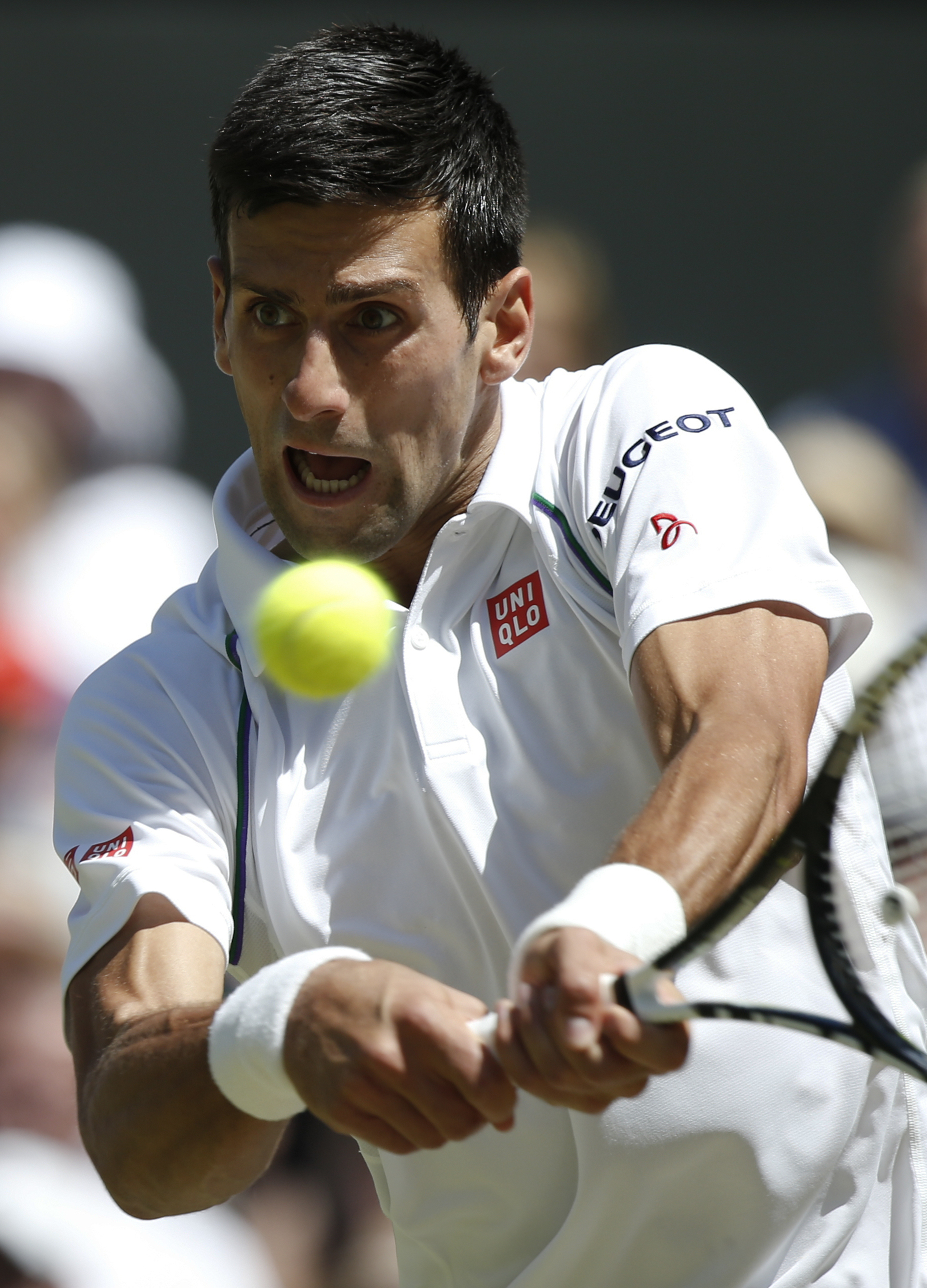 Novak Djokovic of Serbia returns a shot to Richard Gasquet of France, during the men's singles semifinal match at the All England Lawn Tennis Championships in Wimbledon, London, Friday July 10, 2015. (Adrian Dennis, Pool Photo via AP)