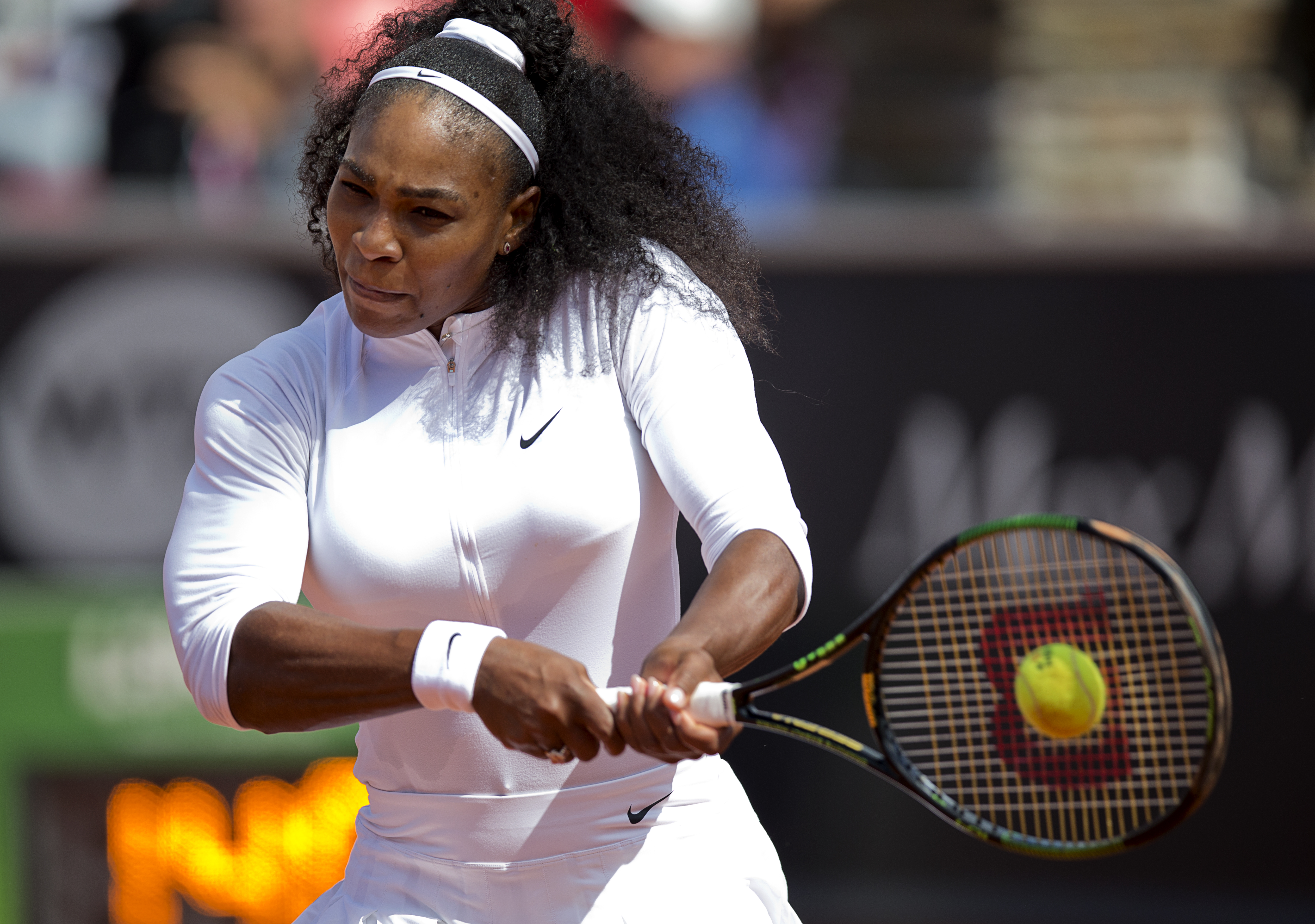 Serena Williams from the US plays her opening match against Ysaline Bonaventure of Belgium,  at the Swedish Open in Bastad, Sweden, Wednesday, July 15, 2015. Williams won 6—2, 6—1. (Adam Ihse, TT News Agency via AP)