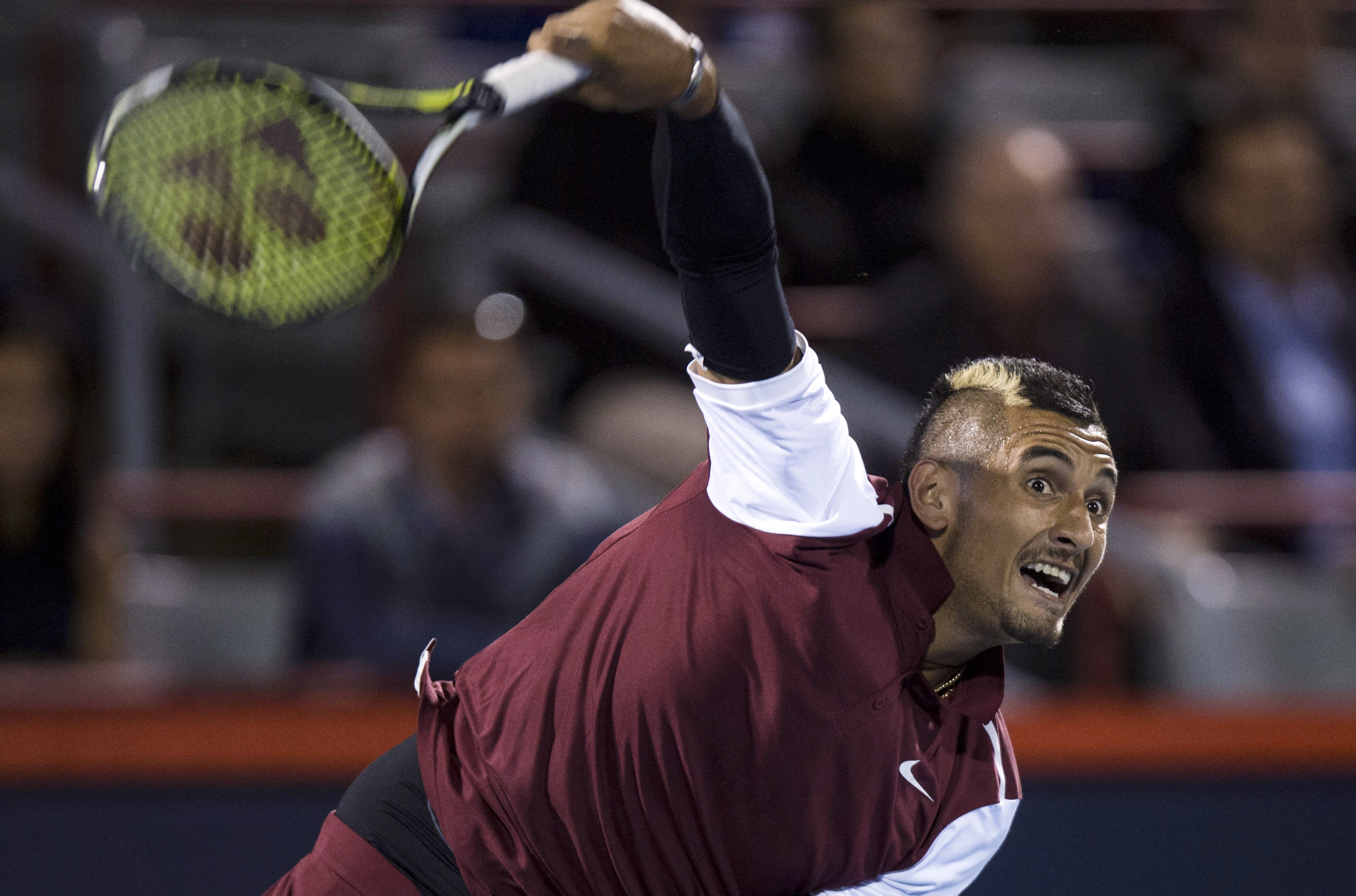 Nick Kyrgios of Australia serves to Stan Wawrinka of Switzerland during second round of play at the Rogers Cup tennis tournament Wednesday August 12, 2015 in Montreal. THE CANADIAN PRESS/Paul Chiasson at the Rogers Cup tennis tournament Wednesday, Aug. 12