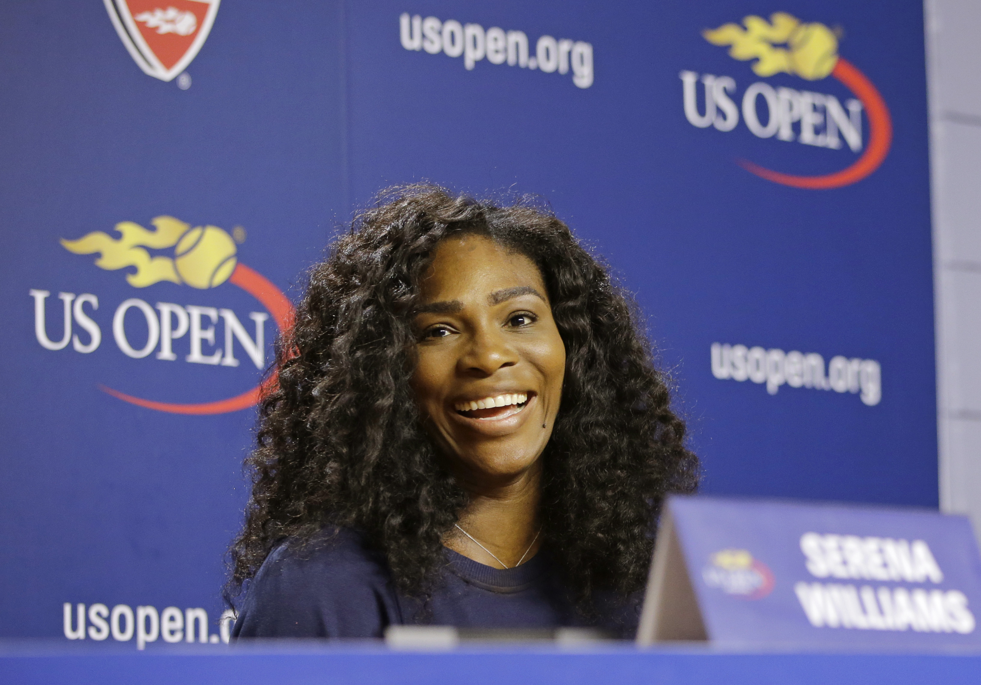 U.S. Open Tennis defending women's champion Serena Williams speaks during a press conference at the USTA Billie Jean King National Tennis Center in New York, Thursday, Aug. 27, 2015. Williams is in position to win the Grand Slam this year if she wins the