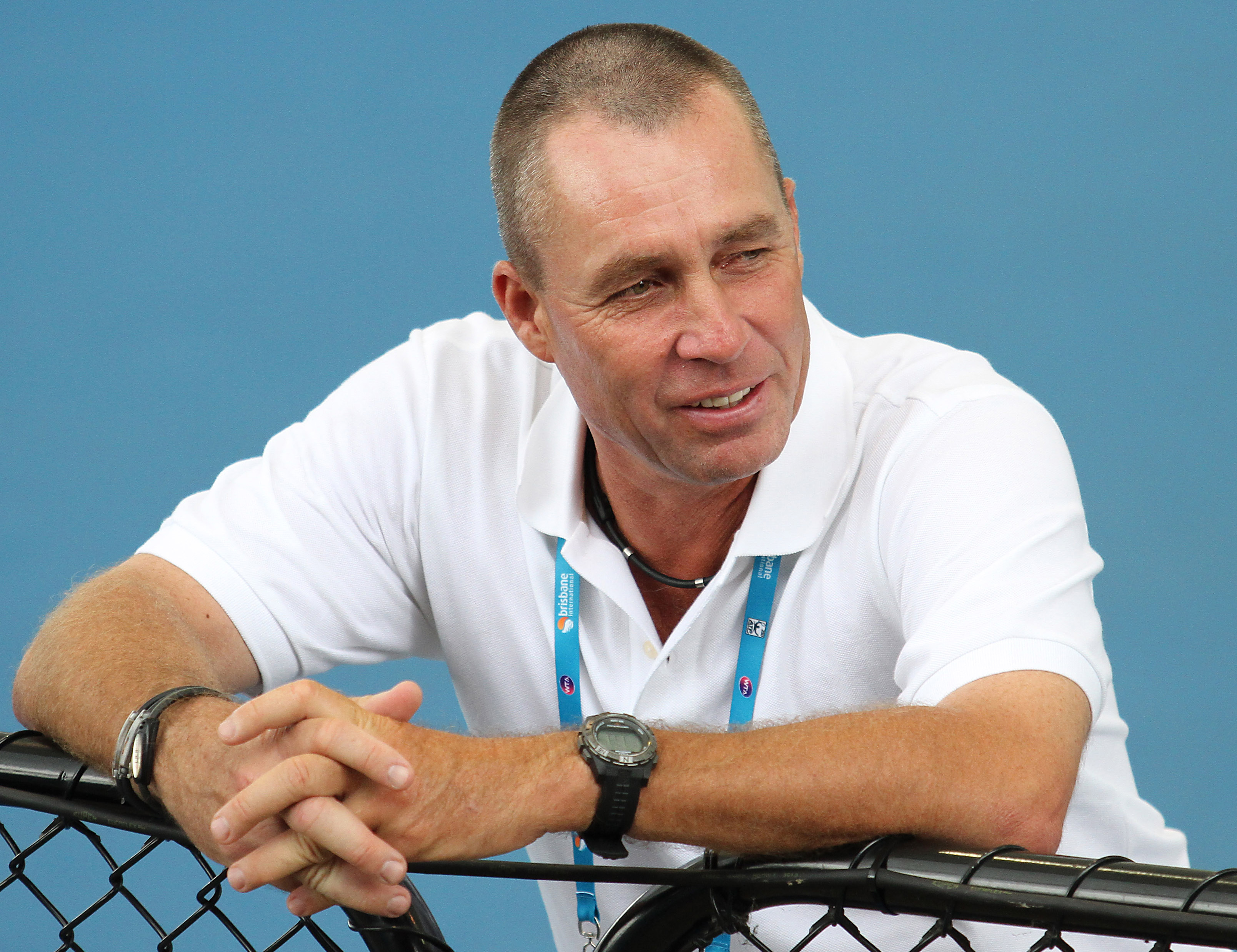 FILE - In this Jan. 7, 2012, file photo, Ivan Lendl watches Andy Murray during a training session for the Brisbane International tennis tournament in Brisbane, Australia. Lendl is getting back into coaching to try to groom the next American tennis champio