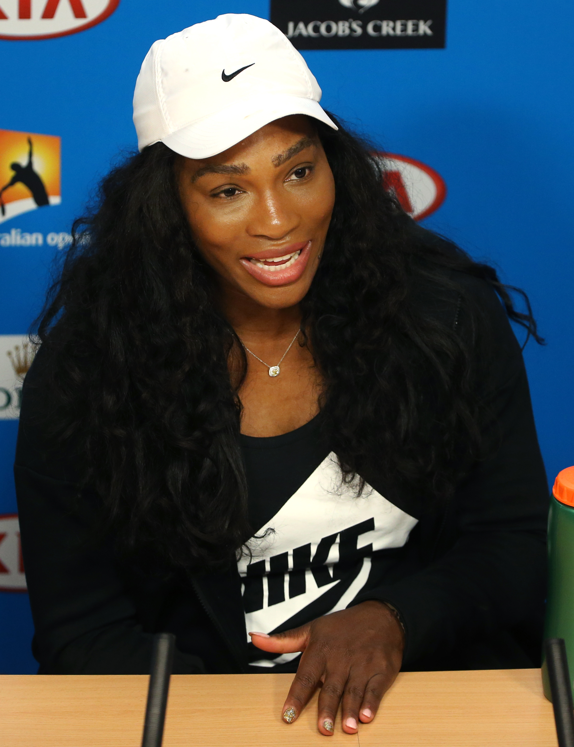 Serena Williams of the United States speaks during a press conference, ahead of the Australian Open tennis championships in Melbourne, Australia, Saturday, Jan. 16, 2016.(AP Photo/Rick Rycroft)